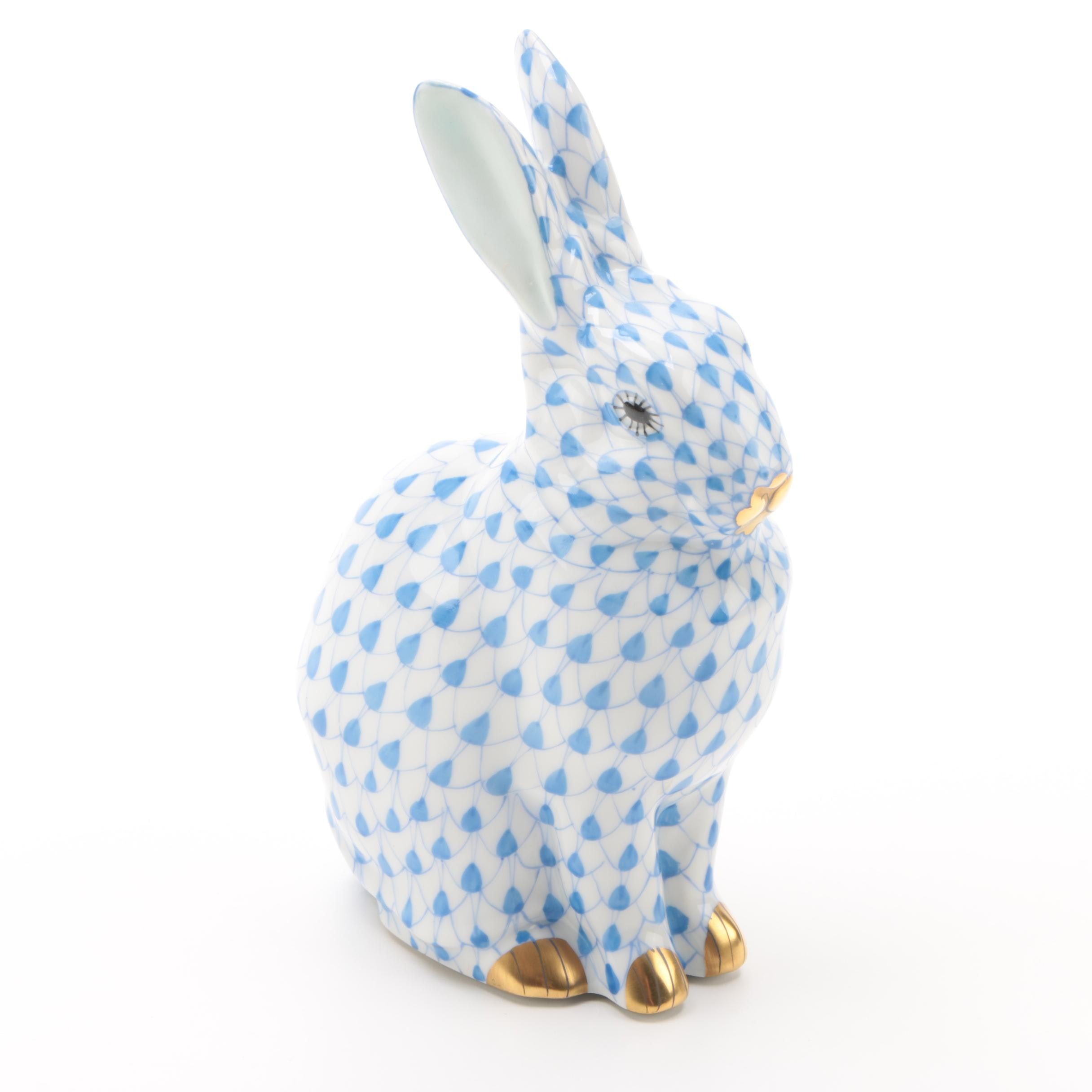 "Herend Hungary ""Rabbit Sitting"" Porcelain Figurine"