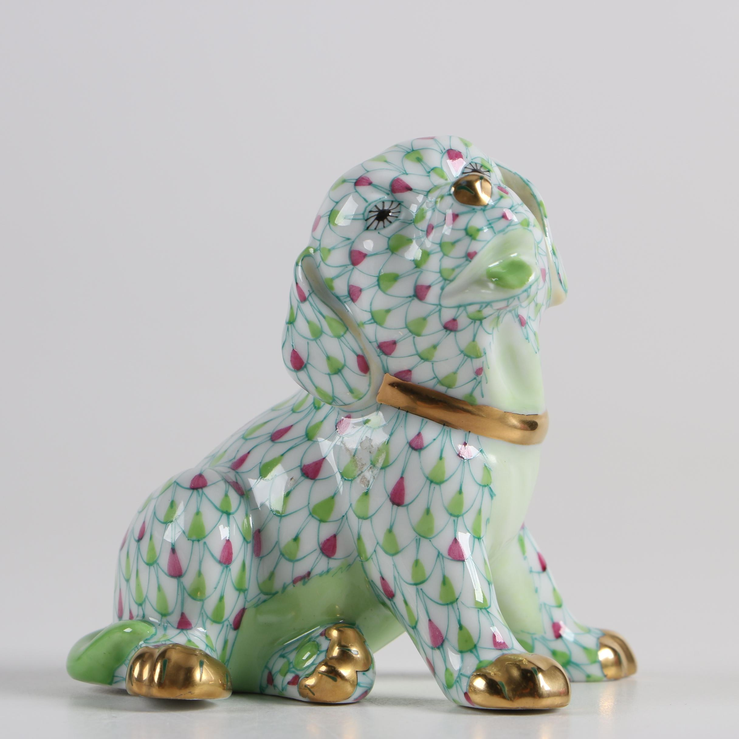 Herend Porcelain Hand-Painted Puppy Figurine