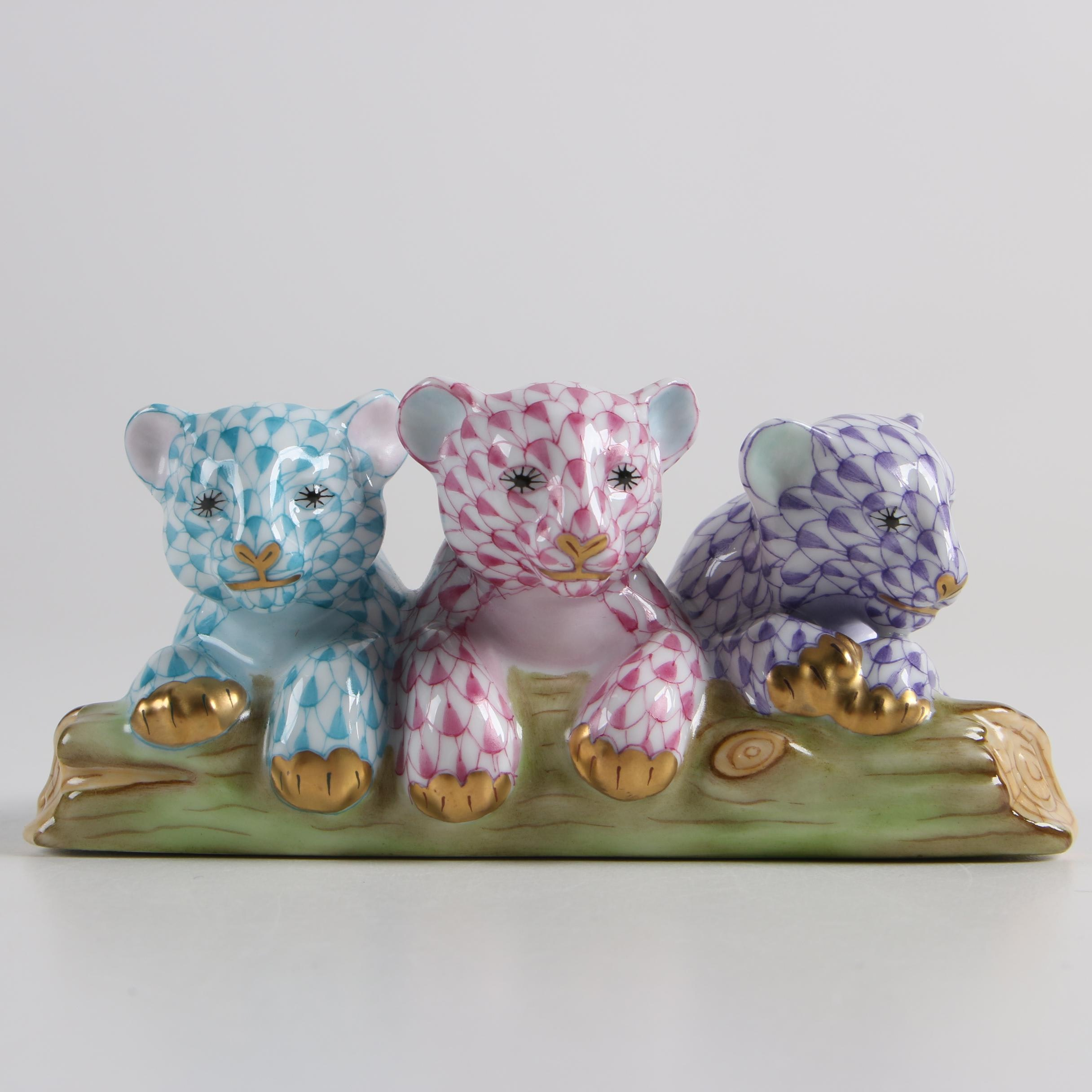 """Herend Hungary """"Tiger Cubs"""" Hand-Painted Porcelain Figurine"""
