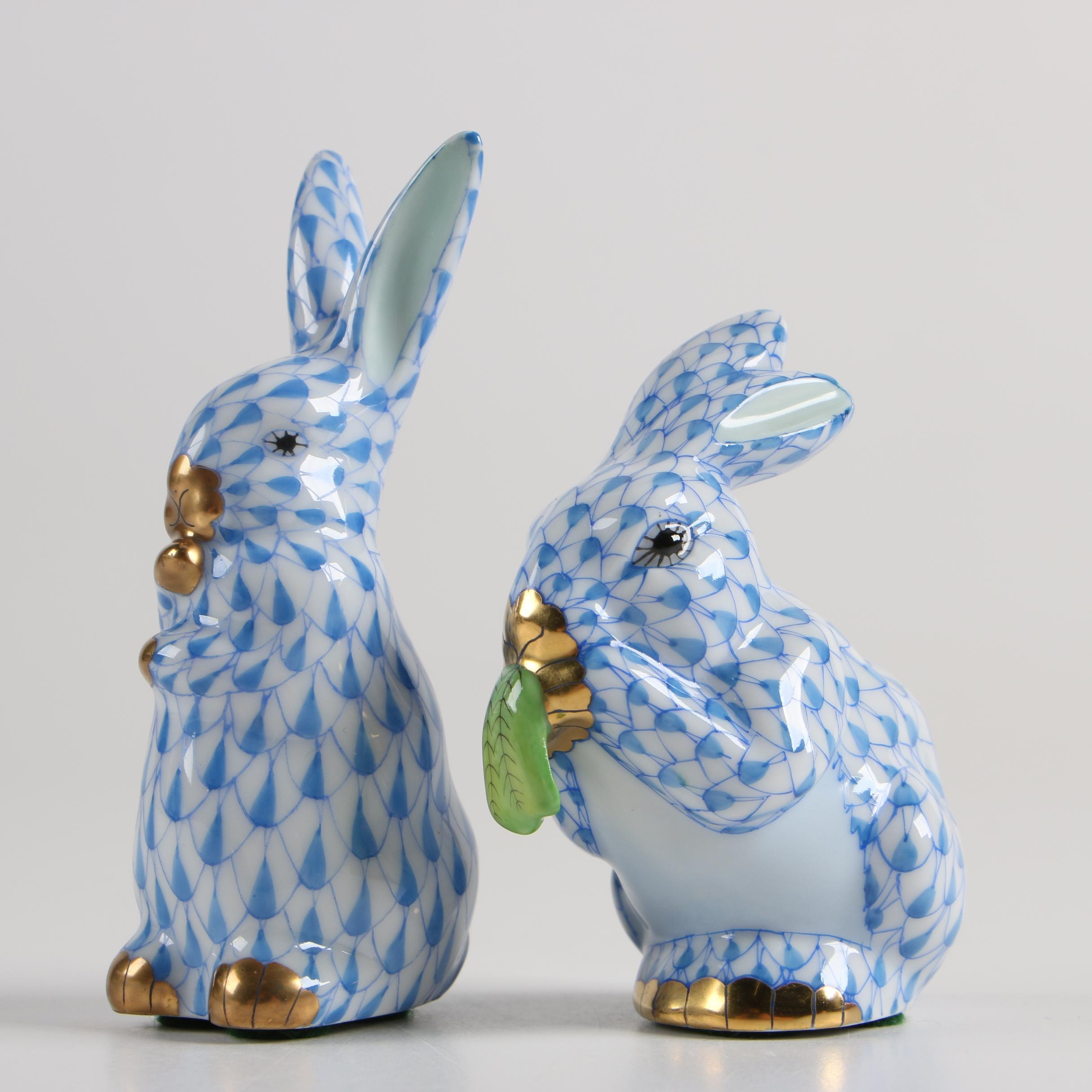 Herend Hungary Hand-Painted Porcelain Rabbit Figurines