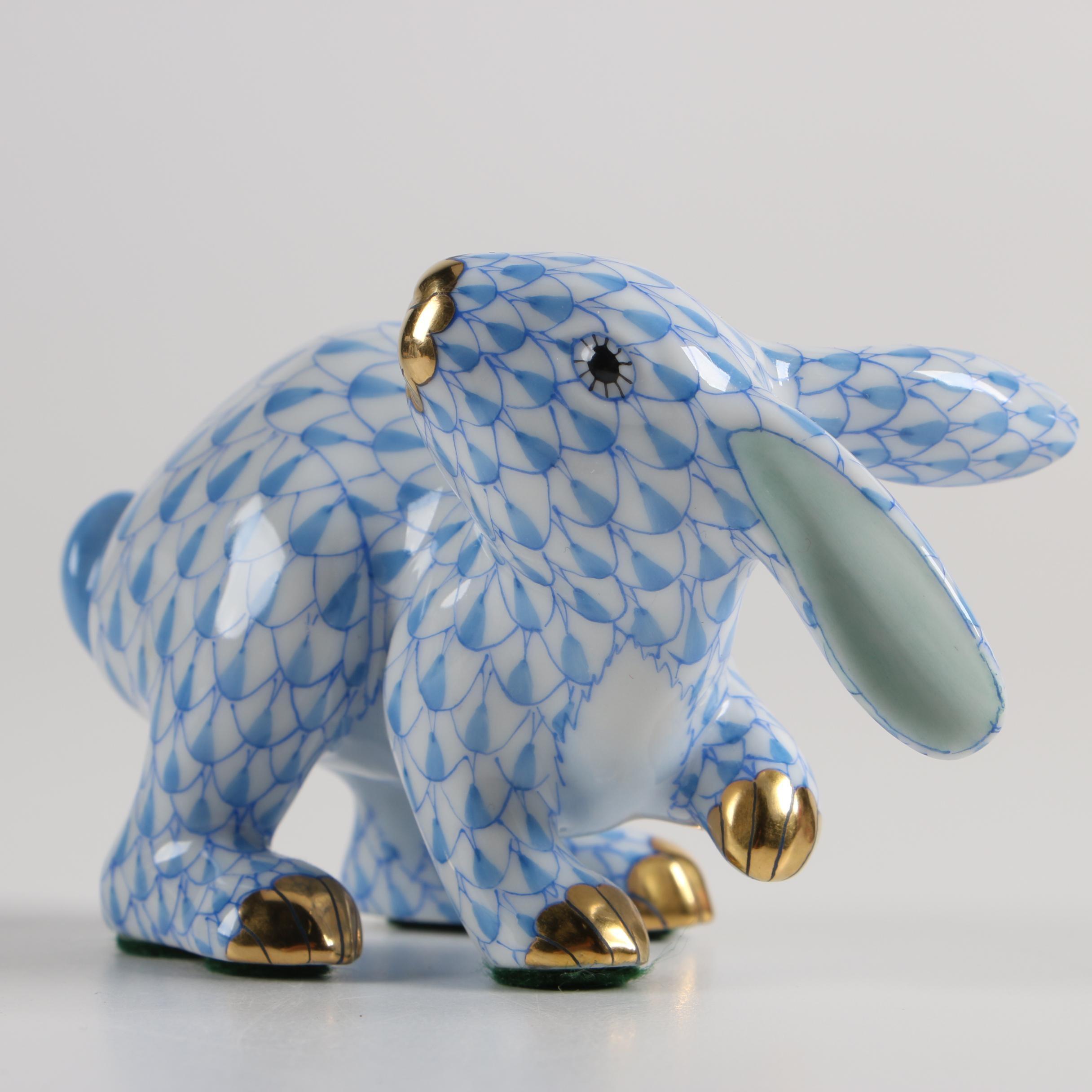 "Herend First Edition ""Rabbit Running"" Porcelain Figurine"