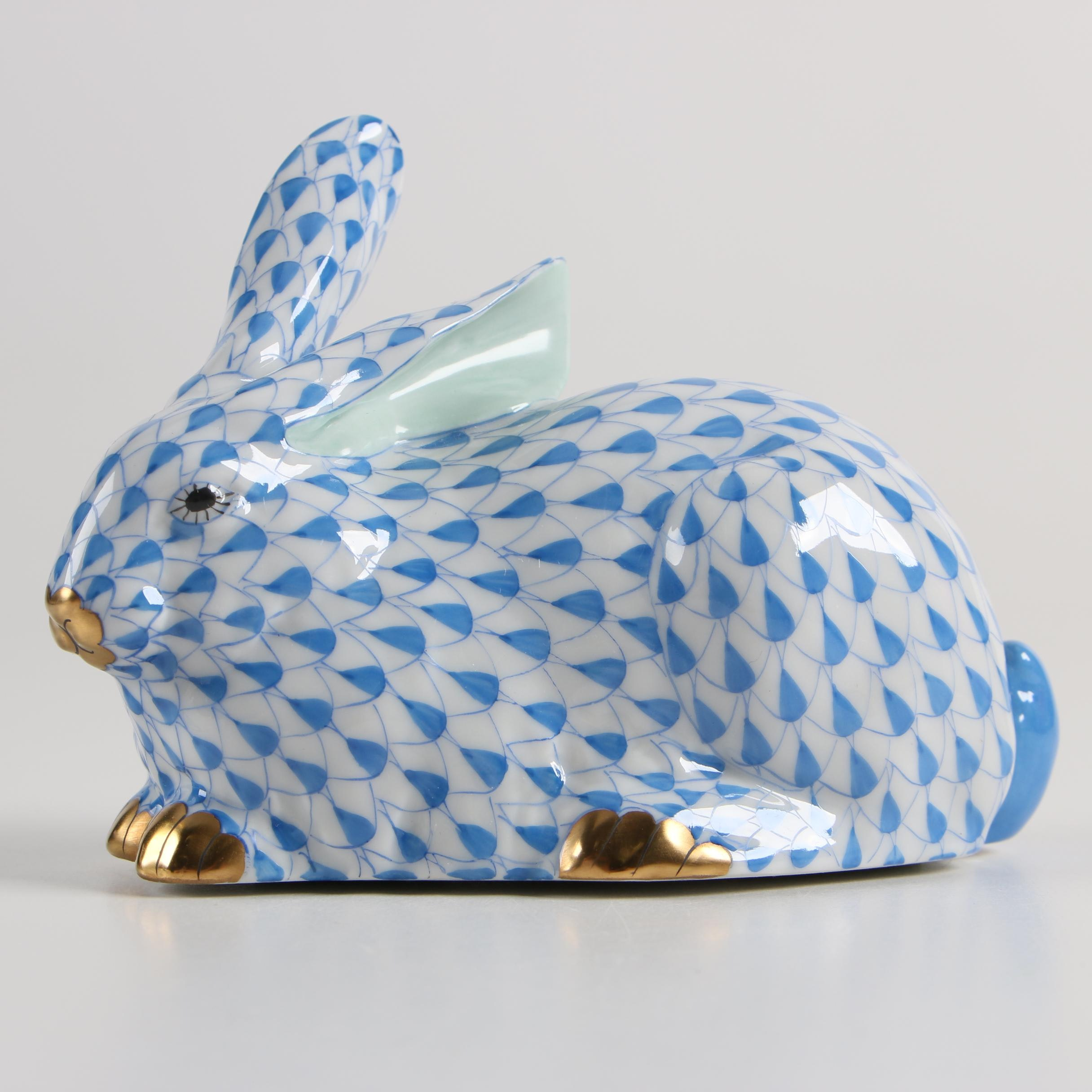 "Herend Hungary ""Rabbit Lying"" Porcelain Figurine"