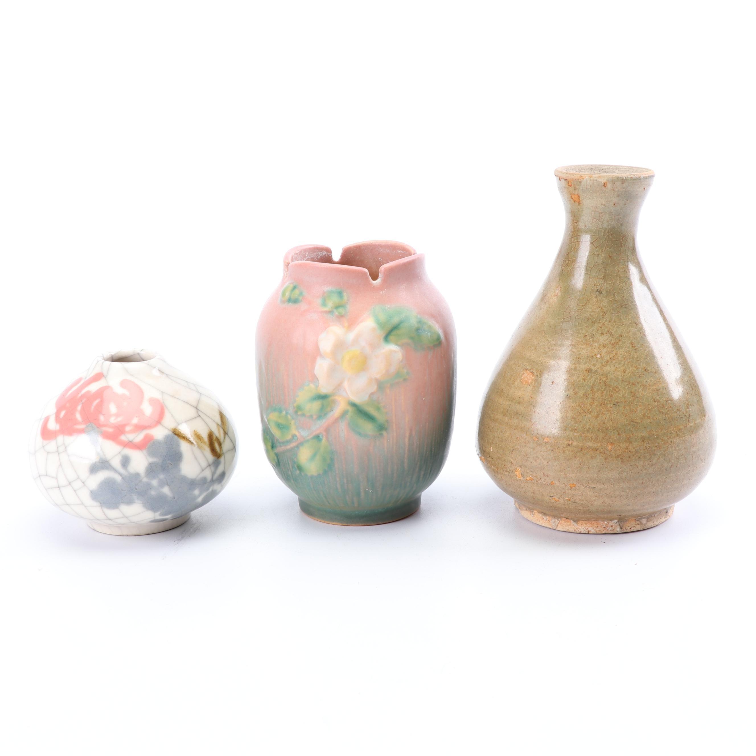 """1940s Roseville """"White Rose"""" Vase with Art Pottery Bud Vases"""
