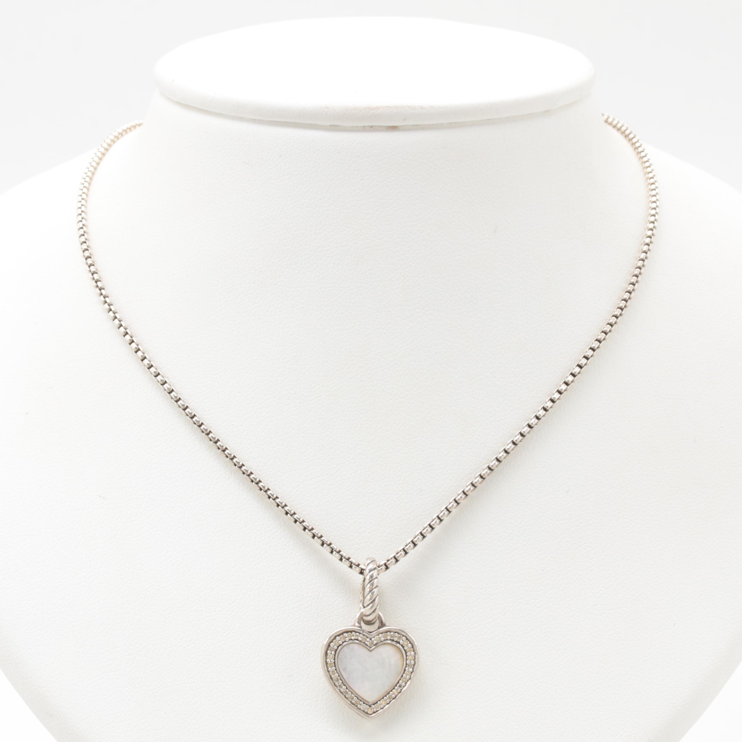 David Yurman Sterling Silver Mother of Pearl and Diamond Heart Pendant