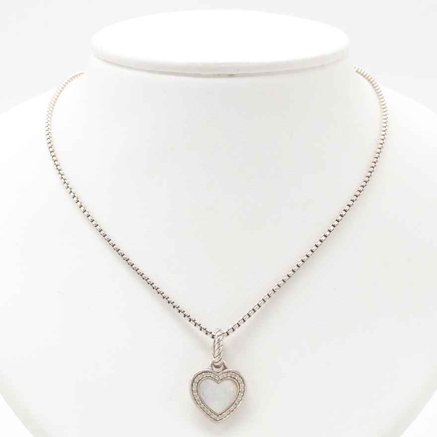 David Yurman Sterling Silver Mother Of Pearl And Diamond Heart