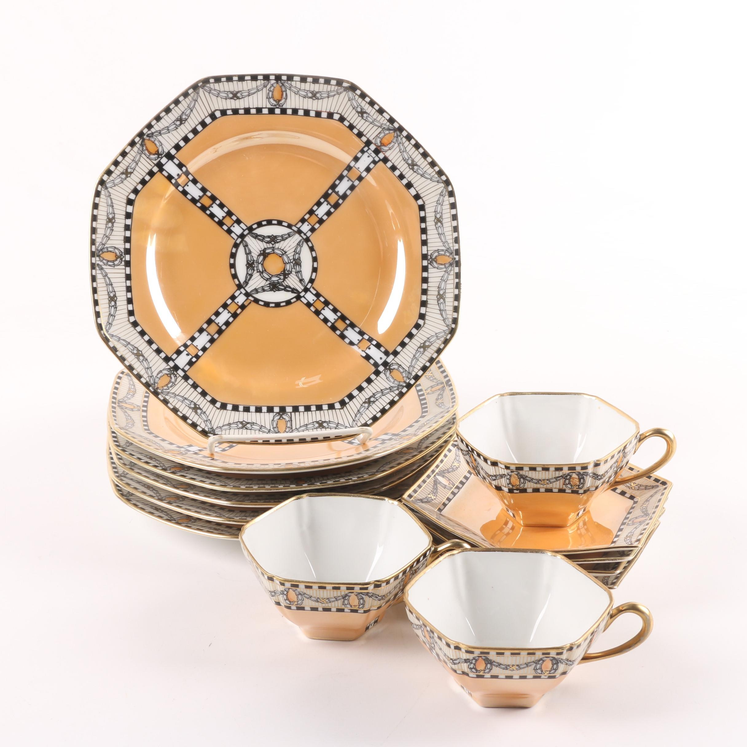Noritake Peach Lusterware Porcelain Octagonal Dinnerware c. 1930s