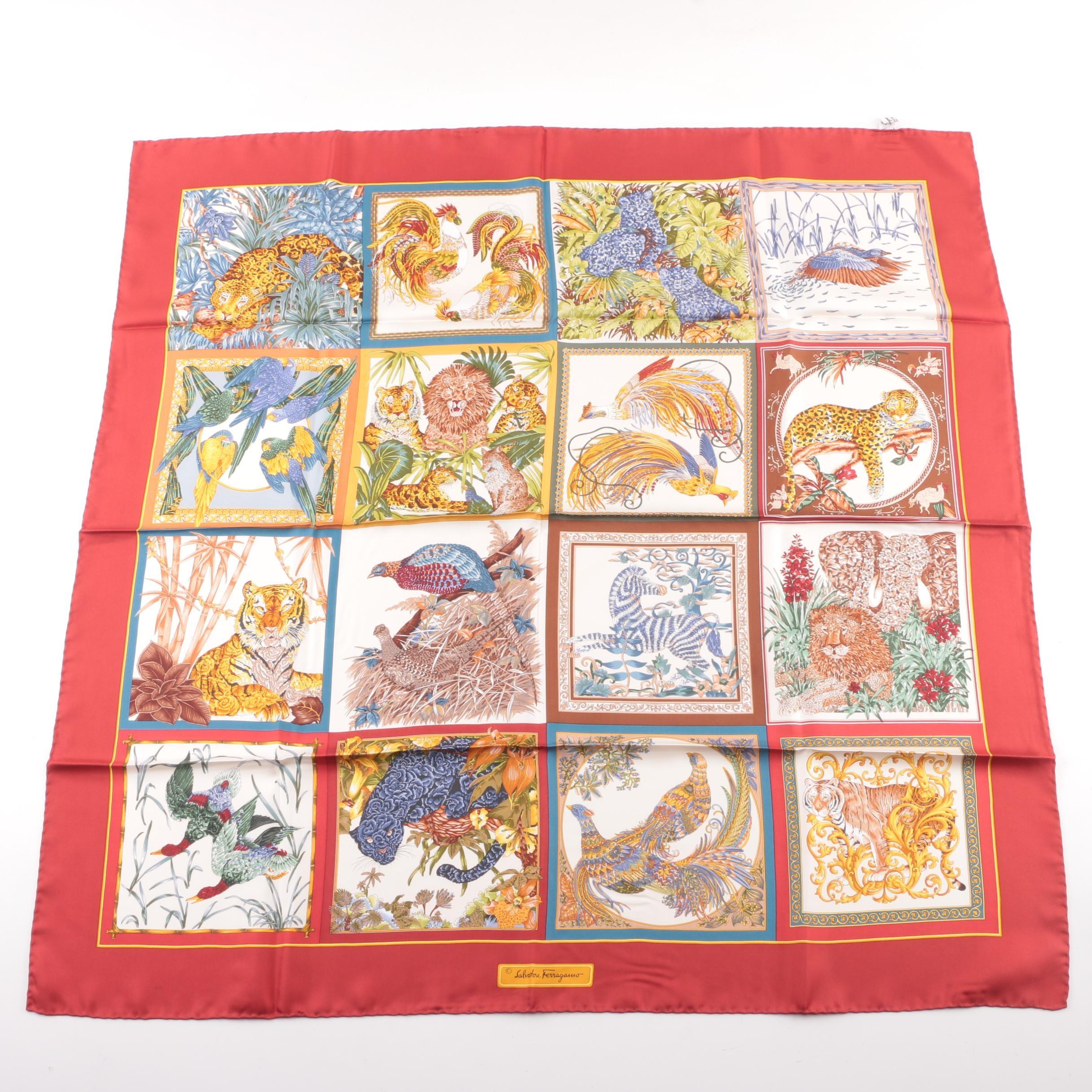 Vintage Salvatore Ferragamo Multicolored Animal Print Silk Fashion Scarf