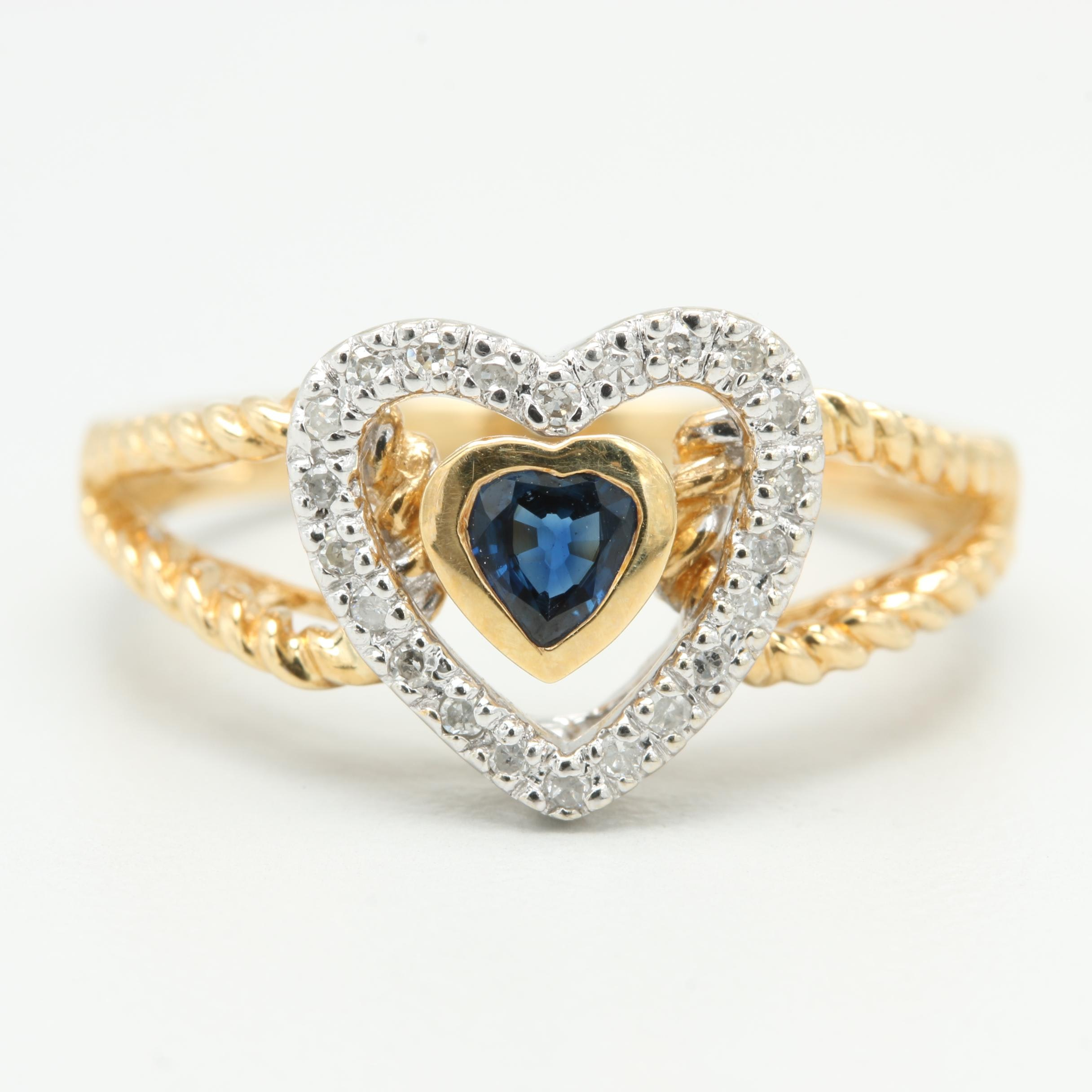 14K Yellow Gold Sapphire and Diamond Heart Ring