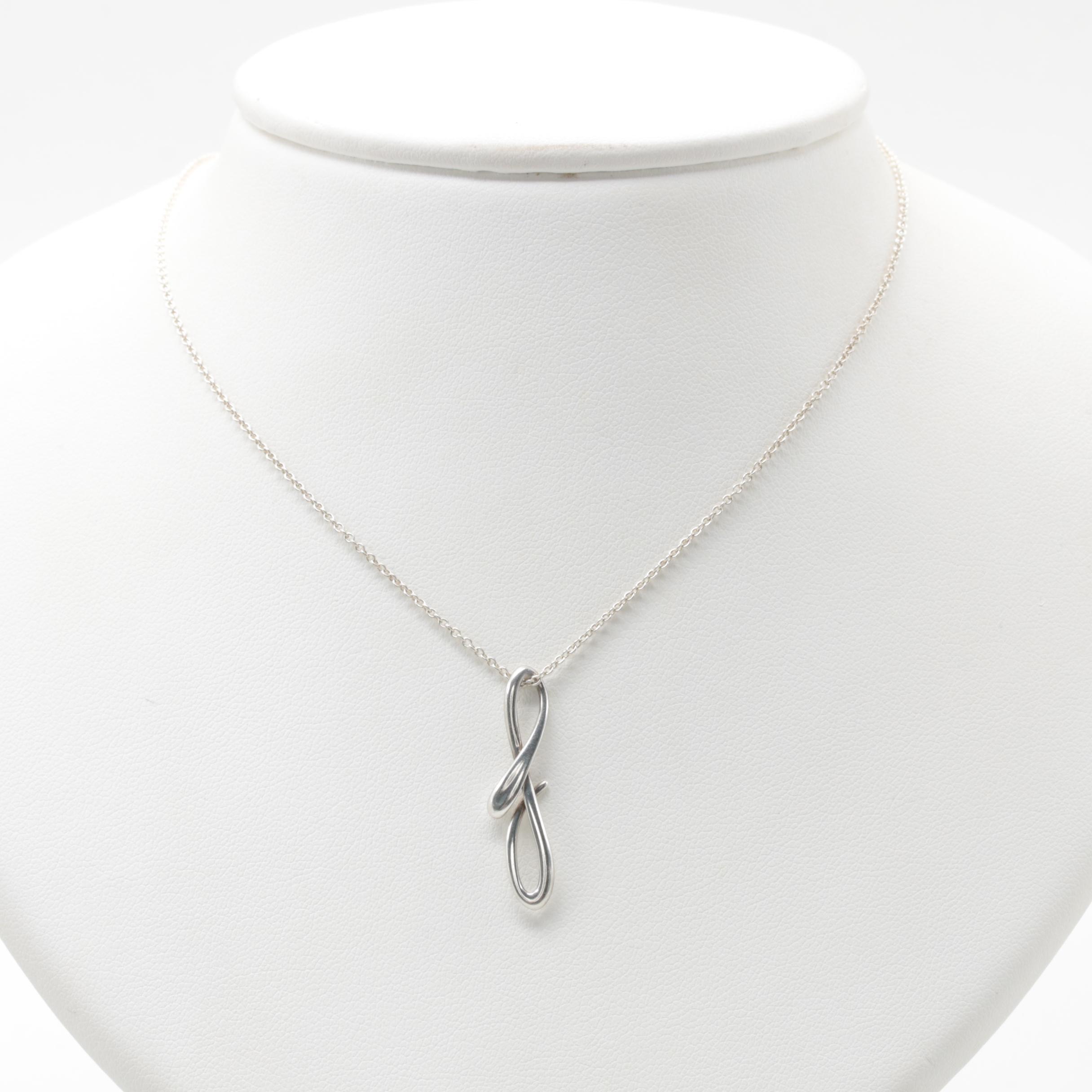 "Elsa Peretti for Tiffany & Co. Sterling Silver ""Letter F"" Pendant Necklace"