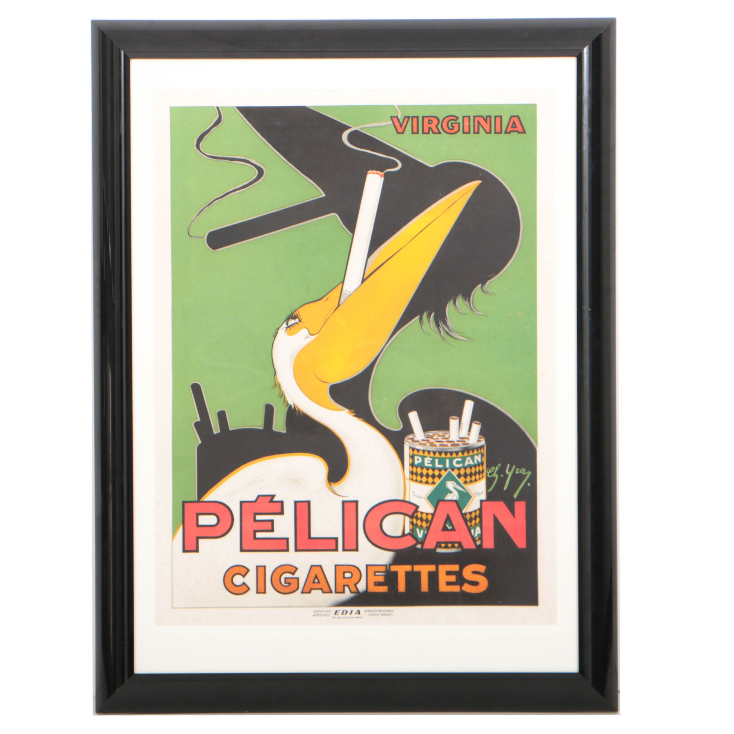 Charles Yray c.1925 Color Lithograph Poster for Pelican Cigarettes