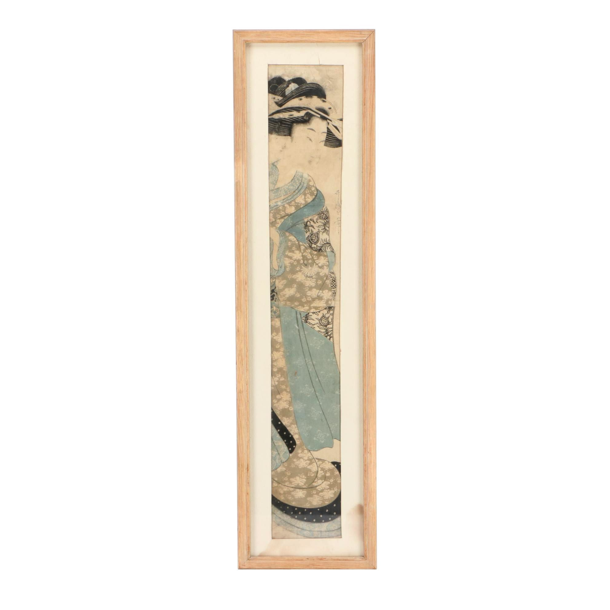 Utamaro Hashira-e Woodblock Bijin Portrait