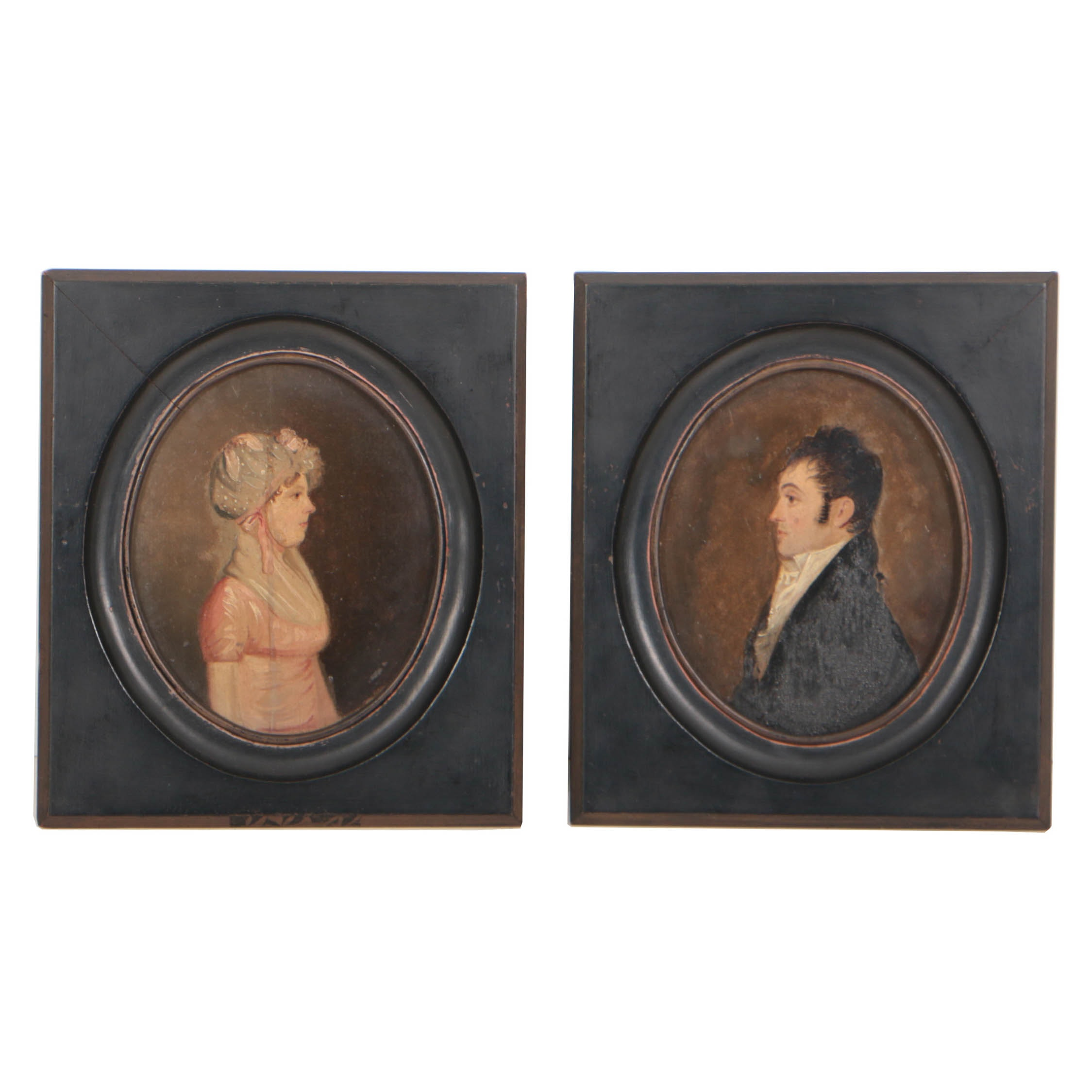Pair of American School Early 19th Century Oil Portraits of Lady and Gentleman