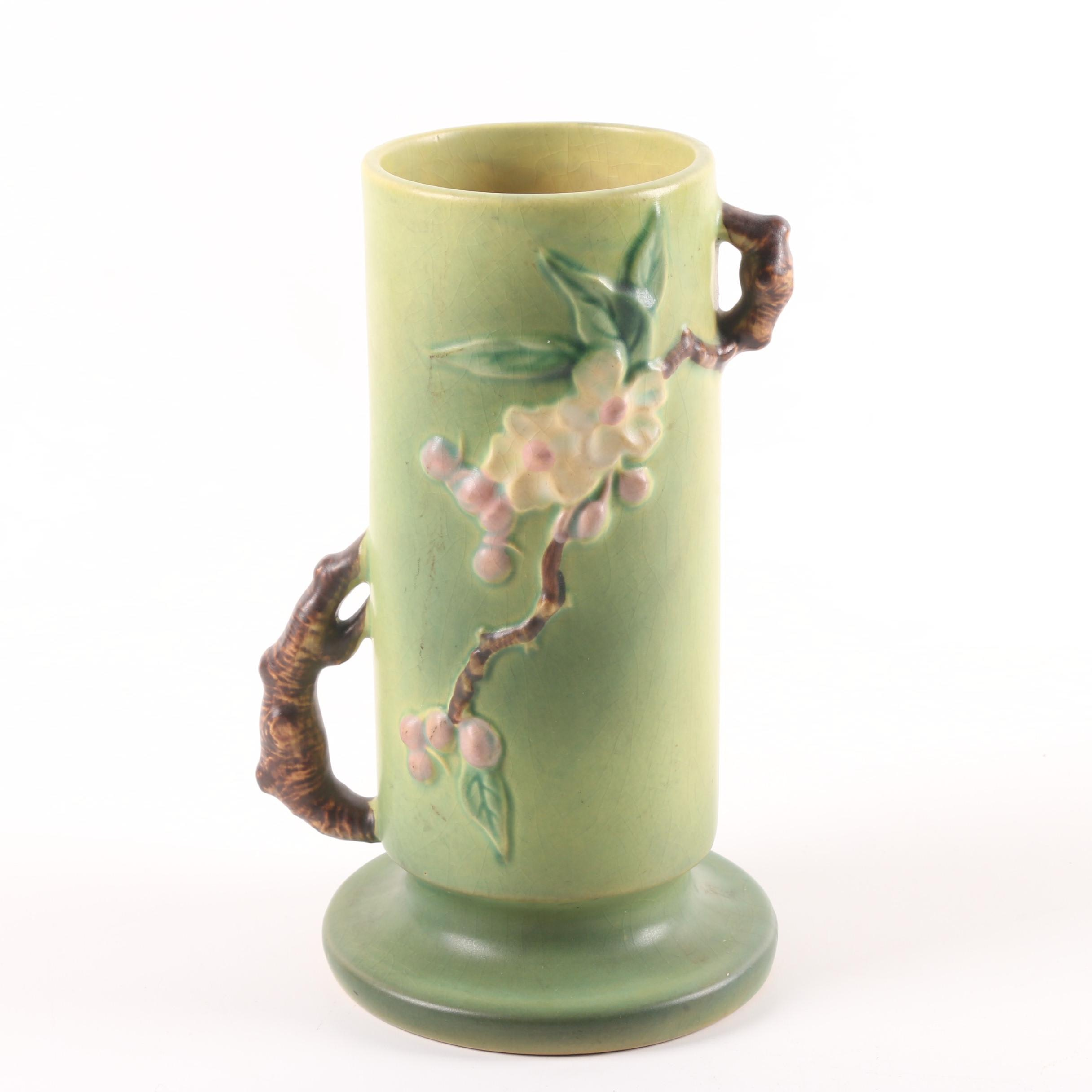 "Roseville Green ""Apple Blossom"" Cylindrical Vase"