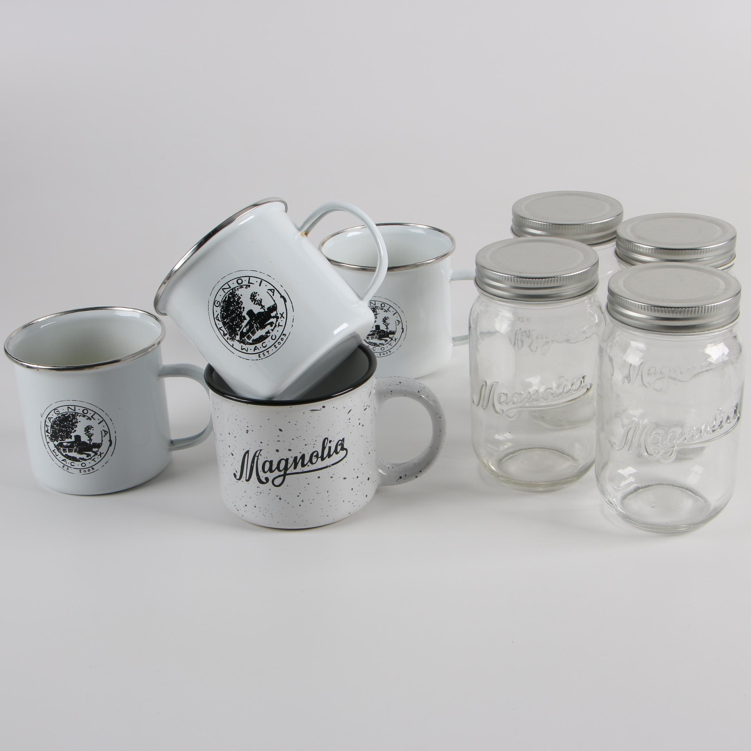 Magnolia Enamel Mugs and Glass Jars