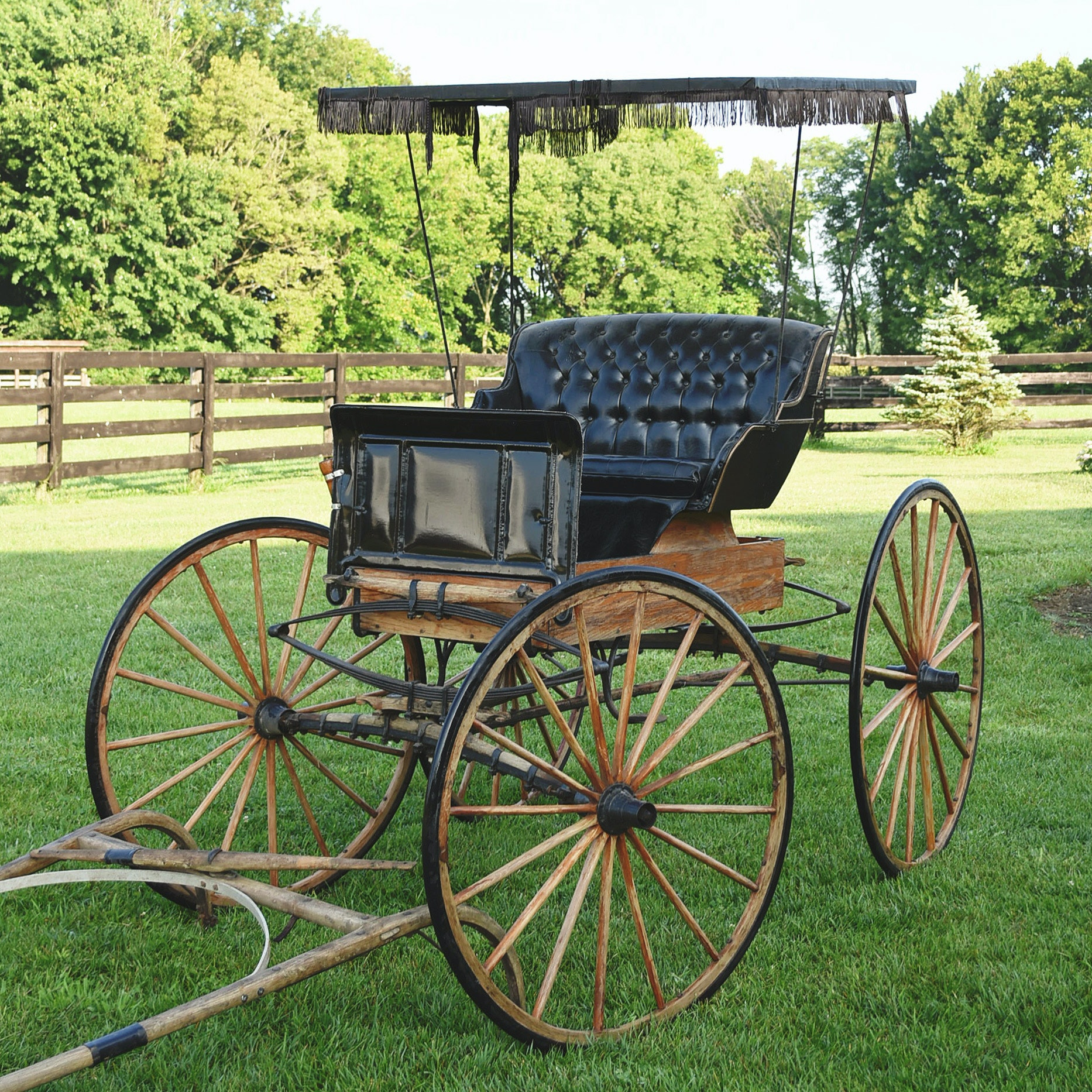 Late 19th Century Natural Oak And  Black Horse Drawn Buggy