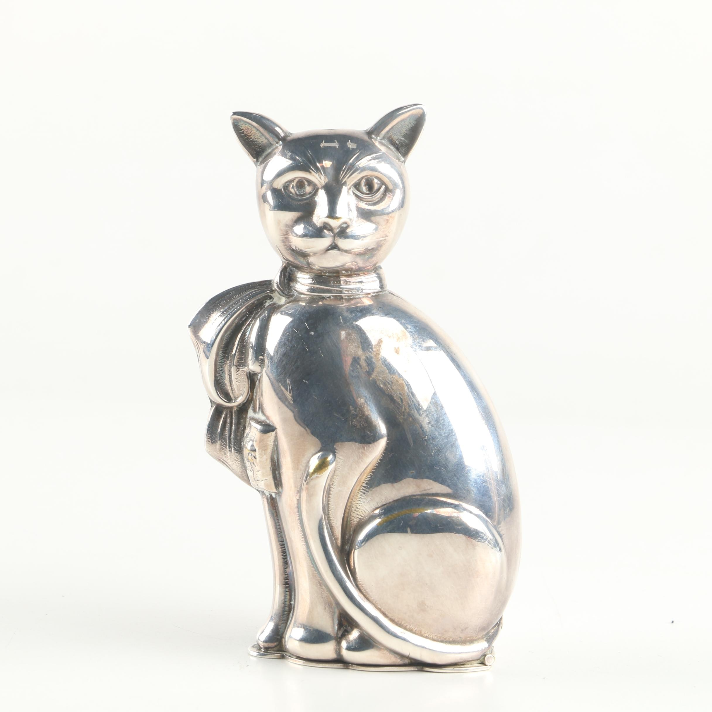 Vintage Silver Plate Cat Figurine Box