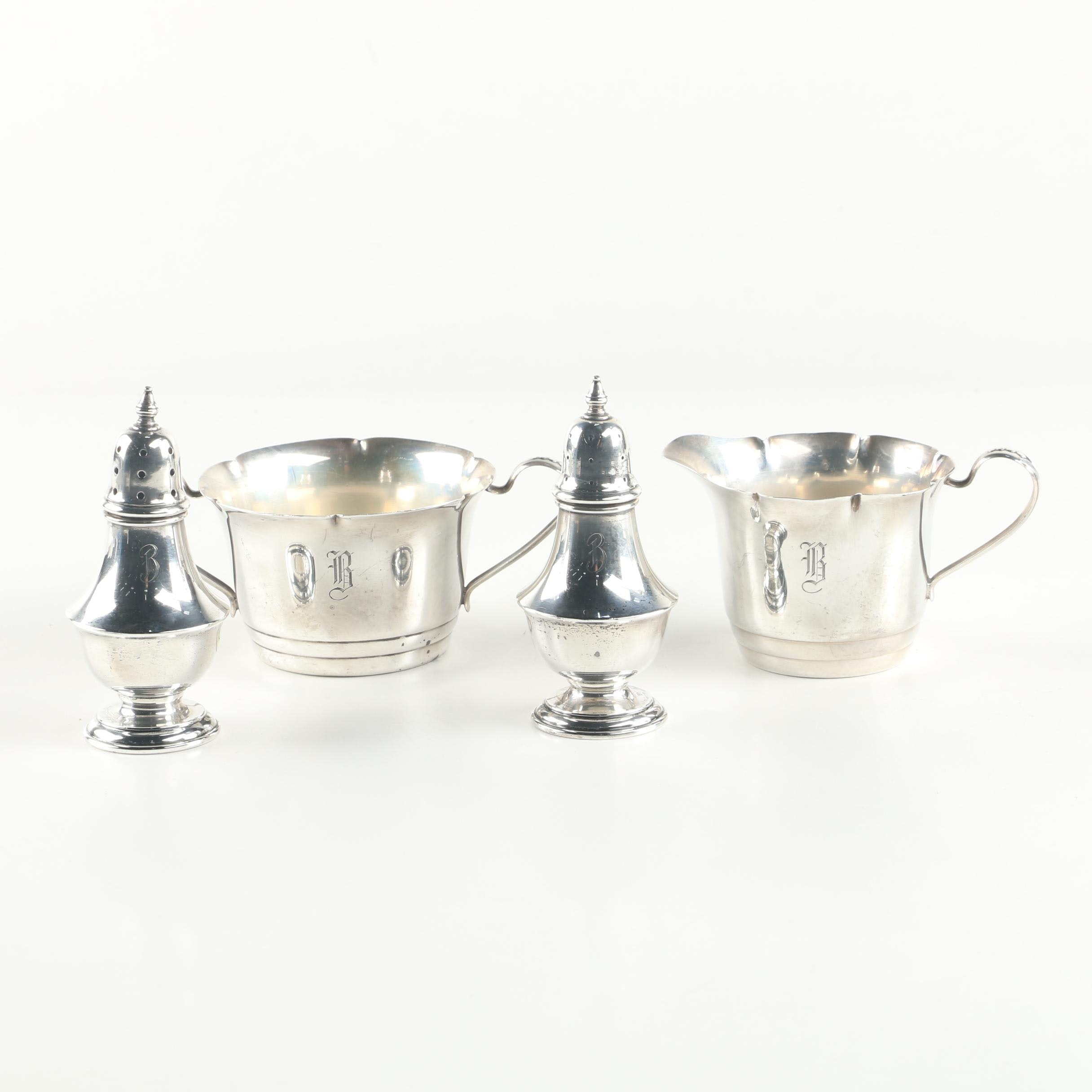 Webster Co. Sterling Silver Condiment Shaker Set, Creamer, and Sugar Bowl