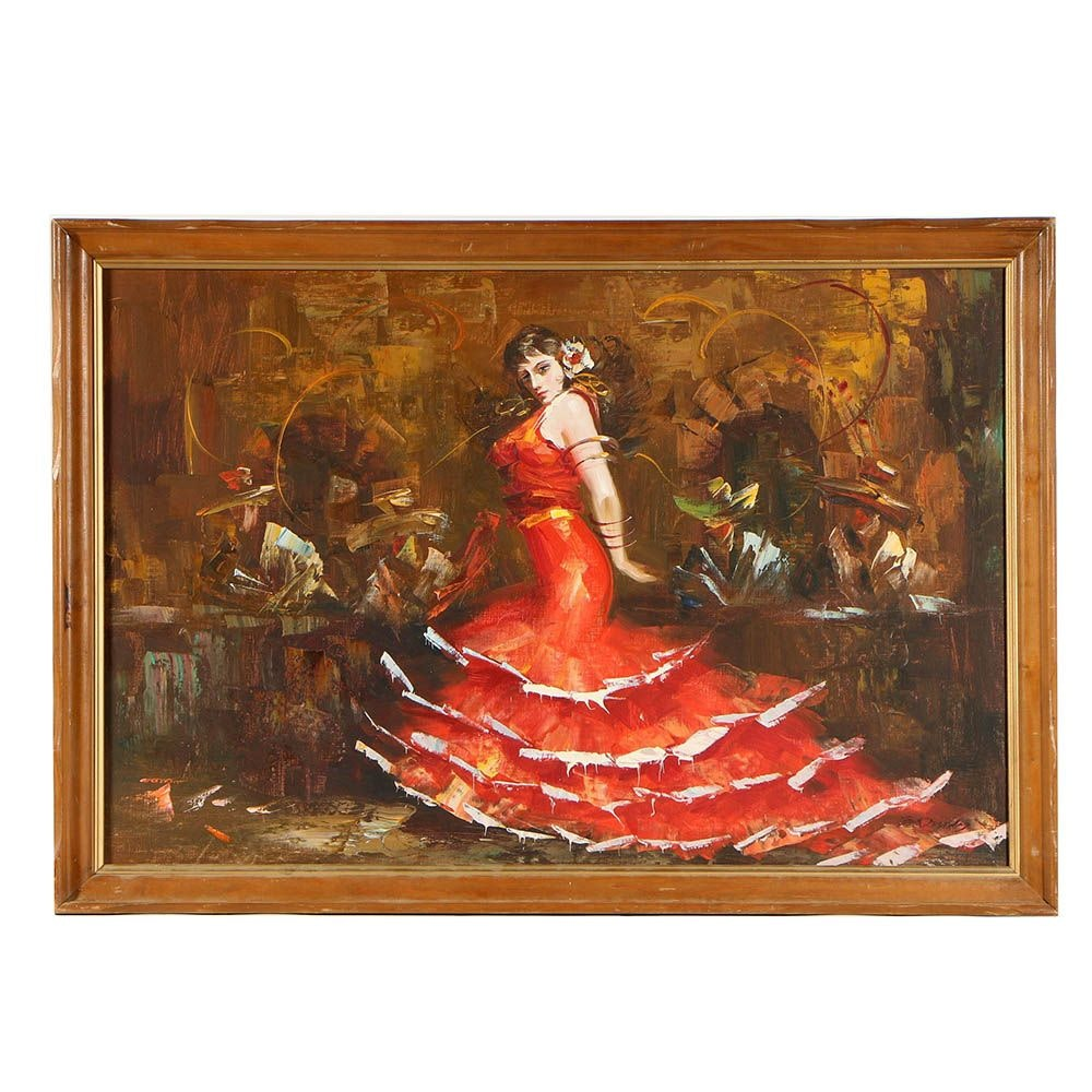 Vintage Oil Painting of Flamenco Dancer