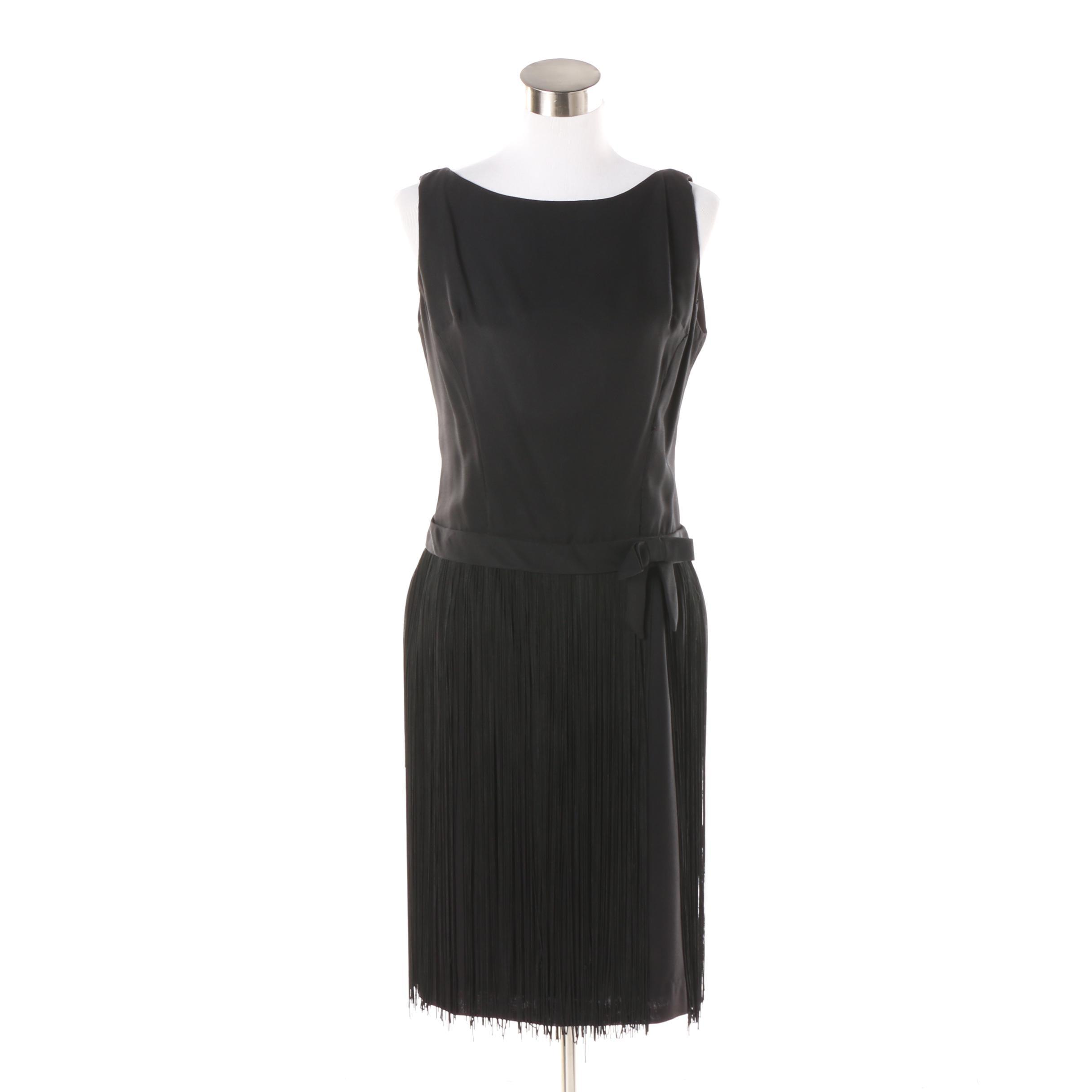 Women's Vintage Black Crepe Sleeveless Cocktail Dress