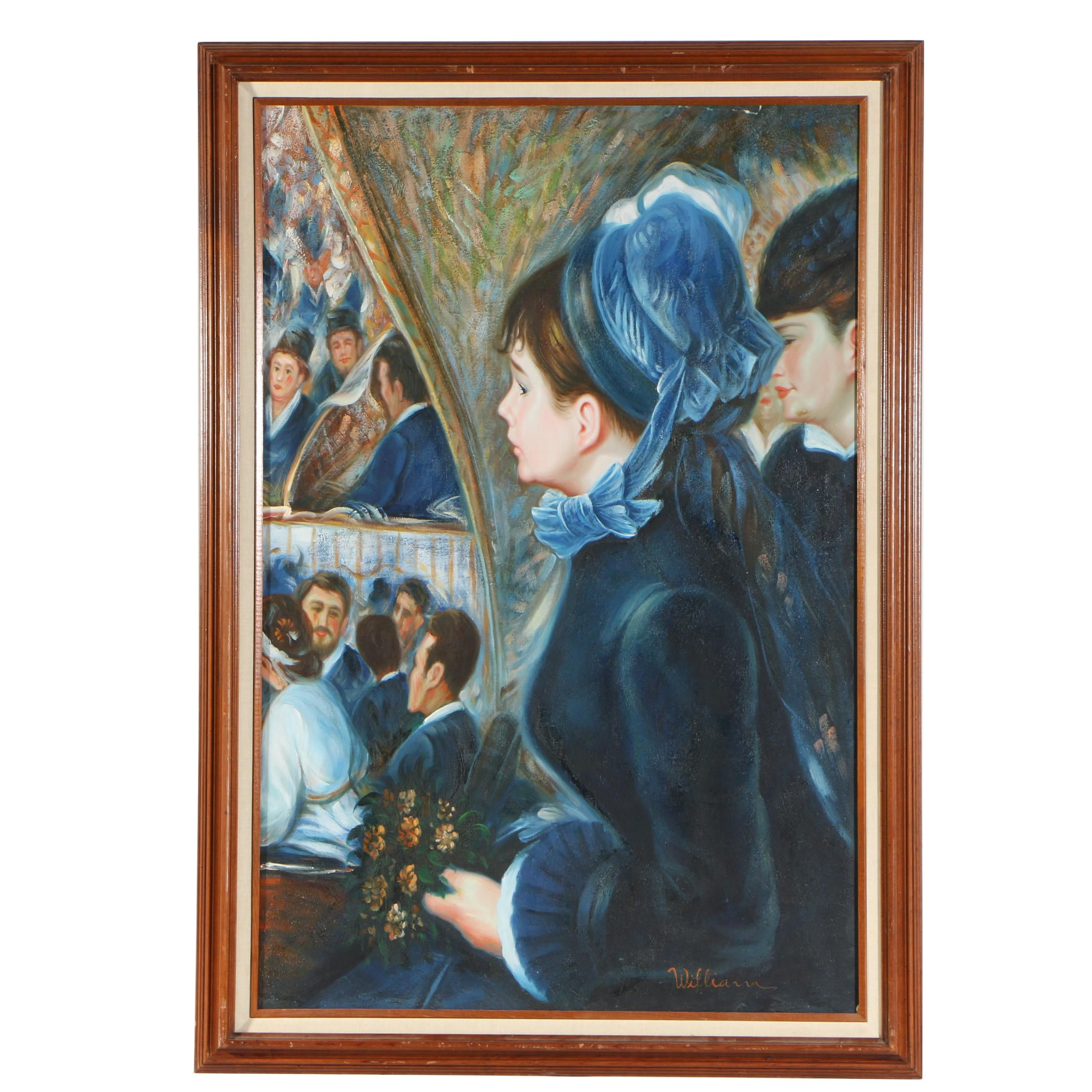 "William Copy Oil Painting after Pierre-Auguste Renoir ""At the Theatre"""
