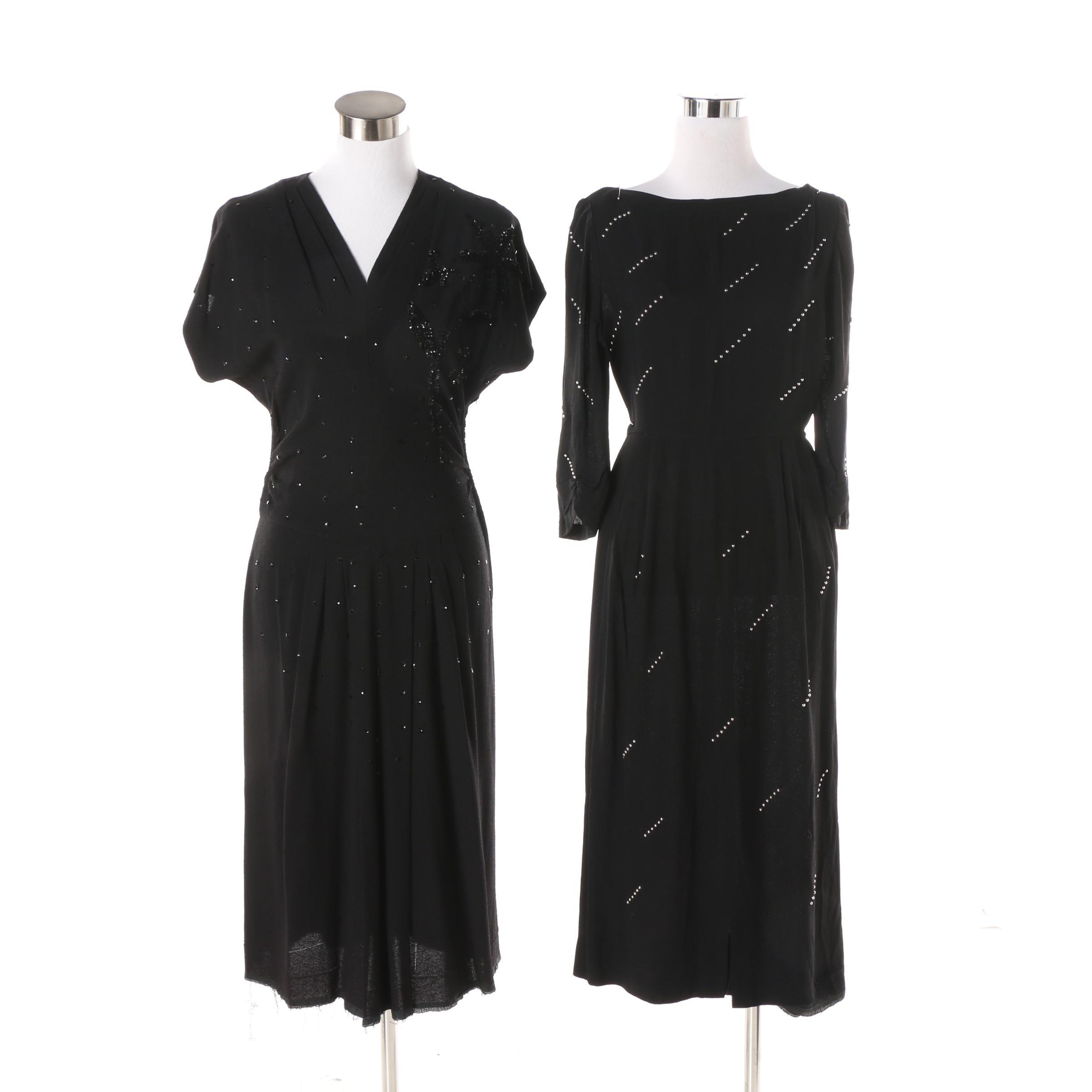 Women's Vintage Black Crepe Embellished Cocktail Dresses