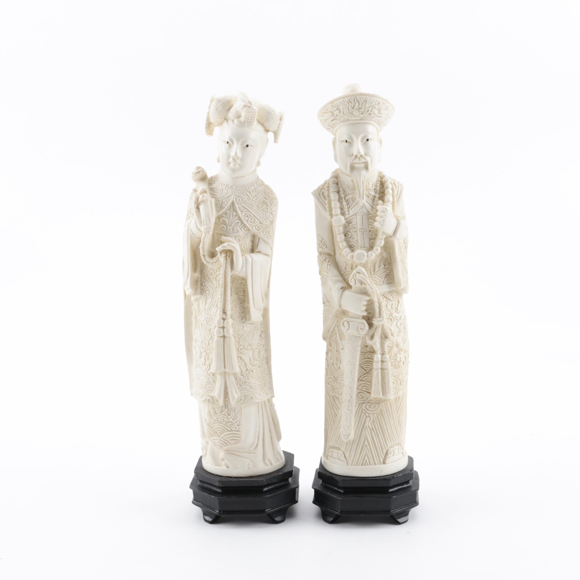 Chinese Inspired Cast Resin Figurine Pair