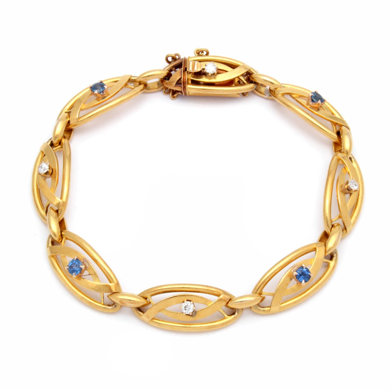 18K Yellow Gold Diamond and Synthetic Sapphire Fancy Link Bracelet