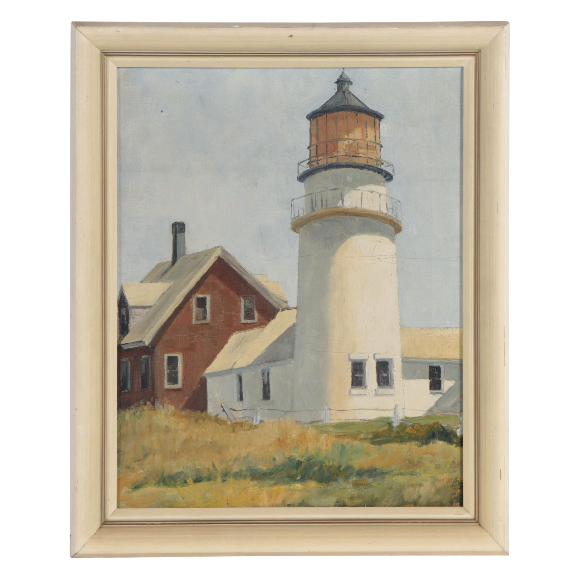 Early-Mid 20th Century Oil Painting of Lighthouse