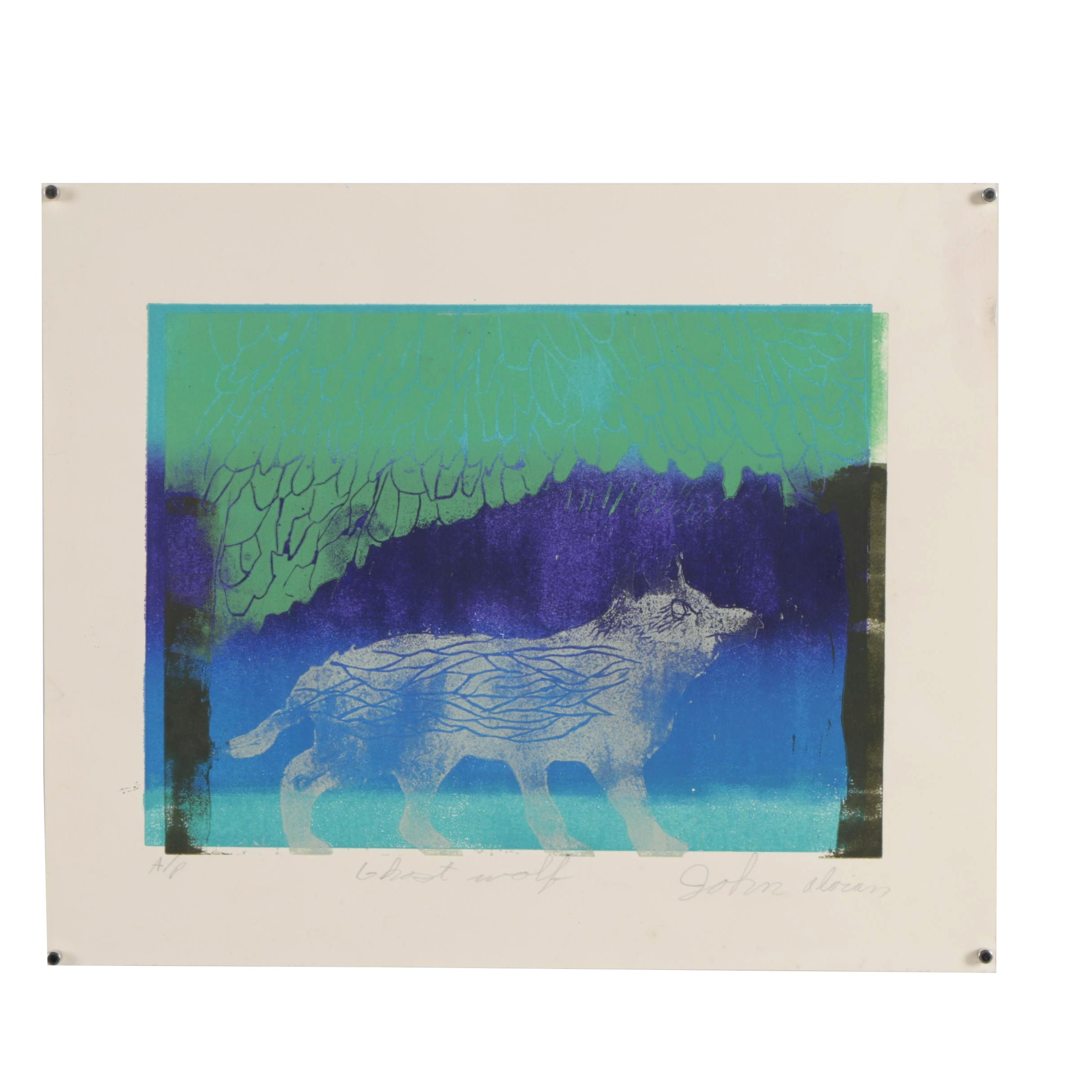"""John Alorian Limited Edition Relief Print """"Ghost Wolf"""""""