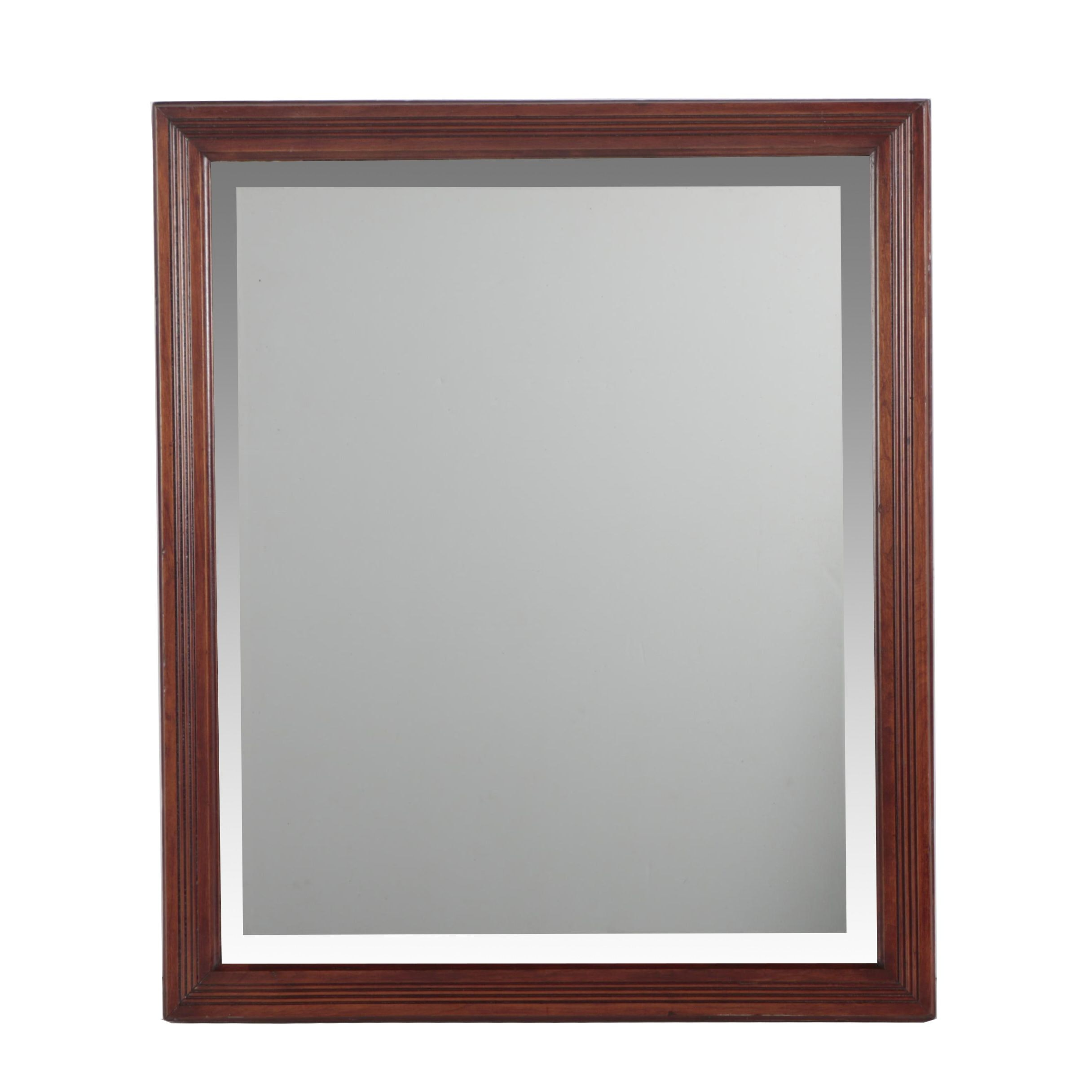 Vintage Beveled Wall Mirror with Reeded Wooden Frame
