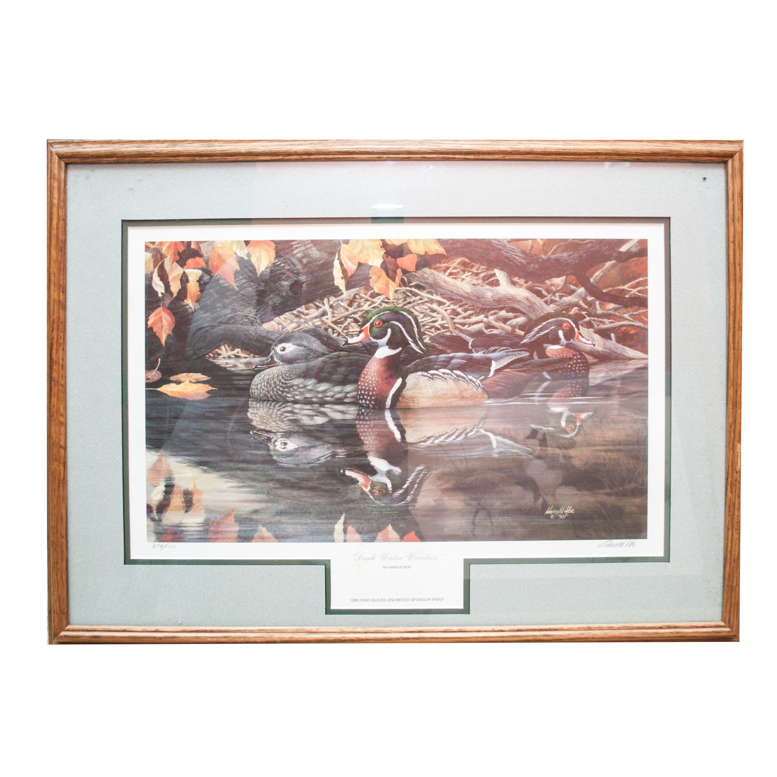 "Vintage Limited Edition Offset Lithograph ""Dark Water Woodies"" by Harold Roe"