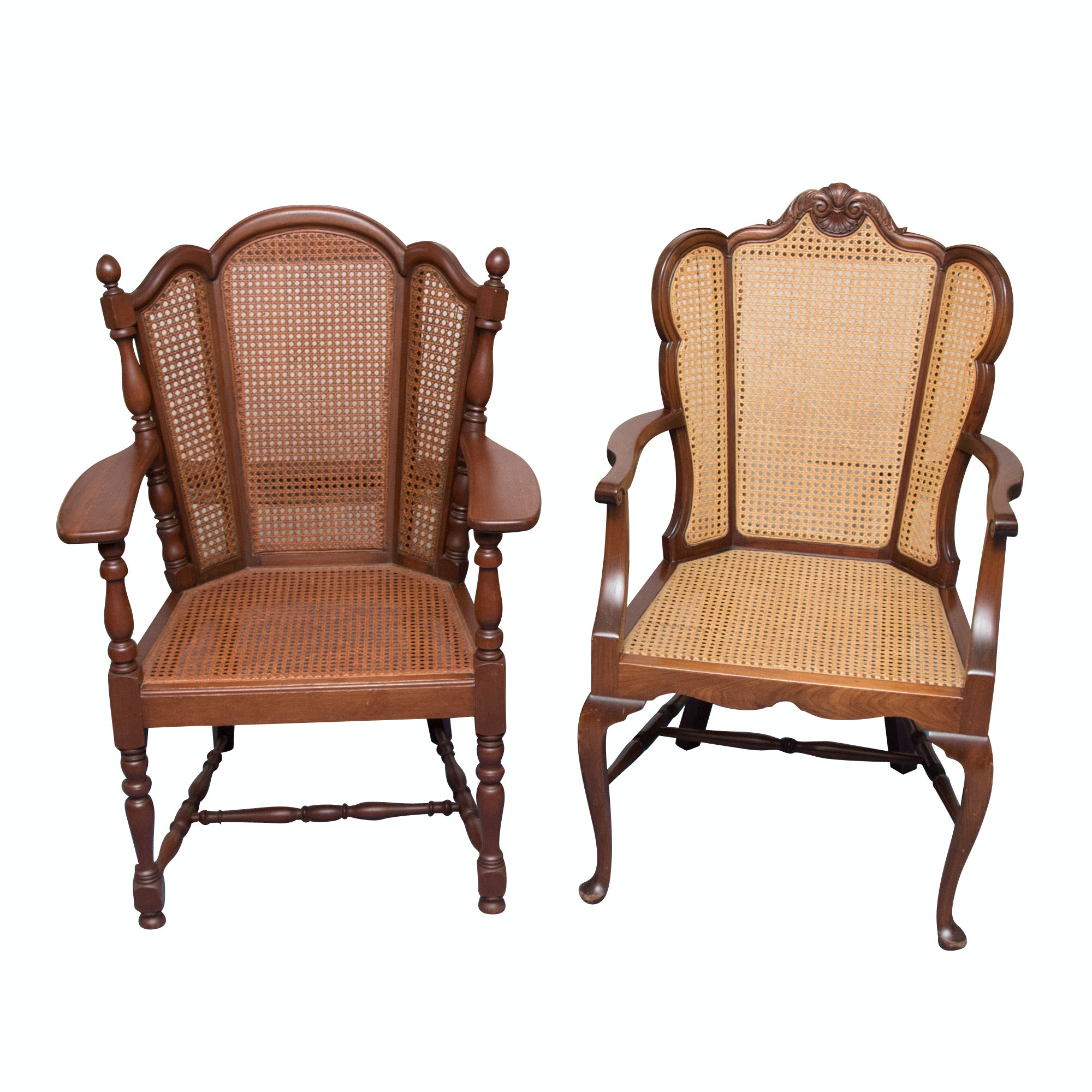 Vintage Walnut And Cane Chairs ...