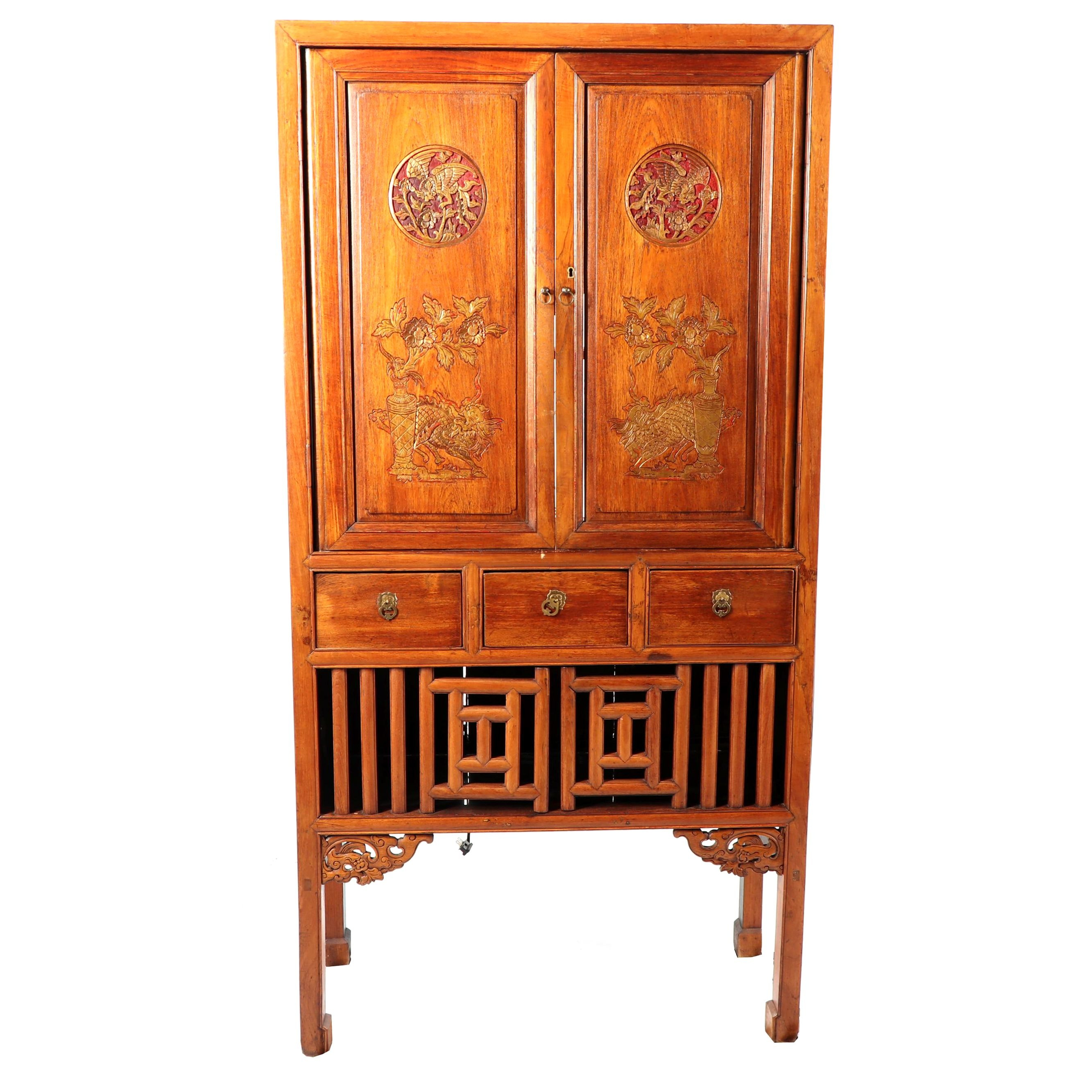 Chinese Carved Wood Entertainment Armoire