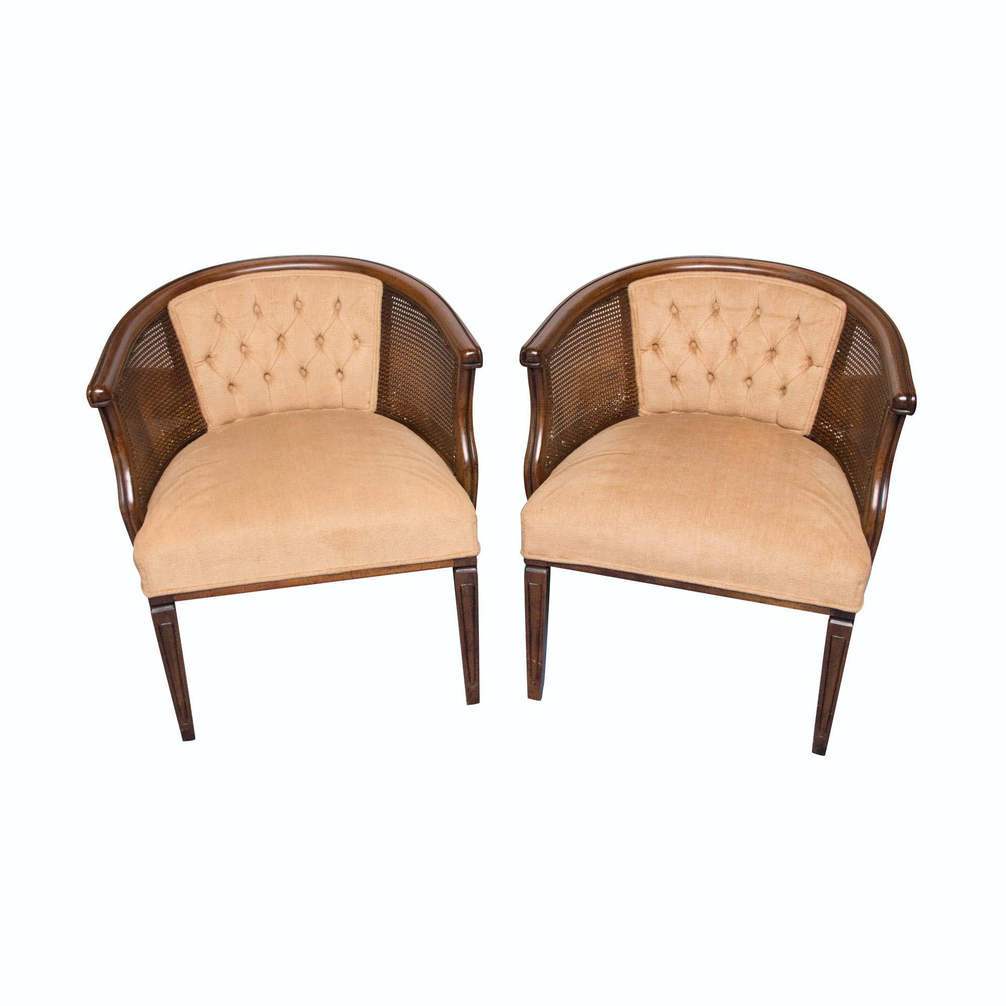 Mid-Century Cane and Upholstery Armchairs