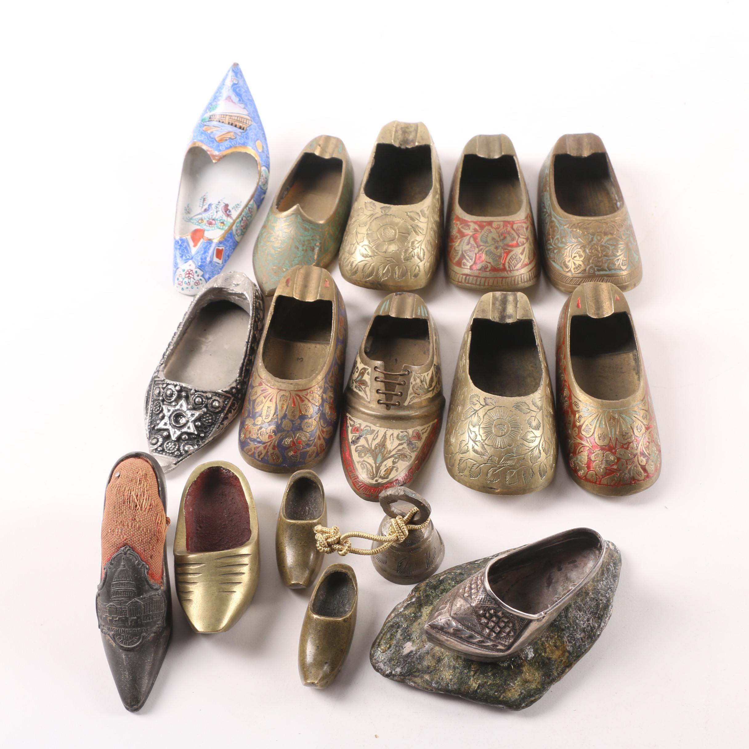 Vintage International Brass Shoe Figurines including India