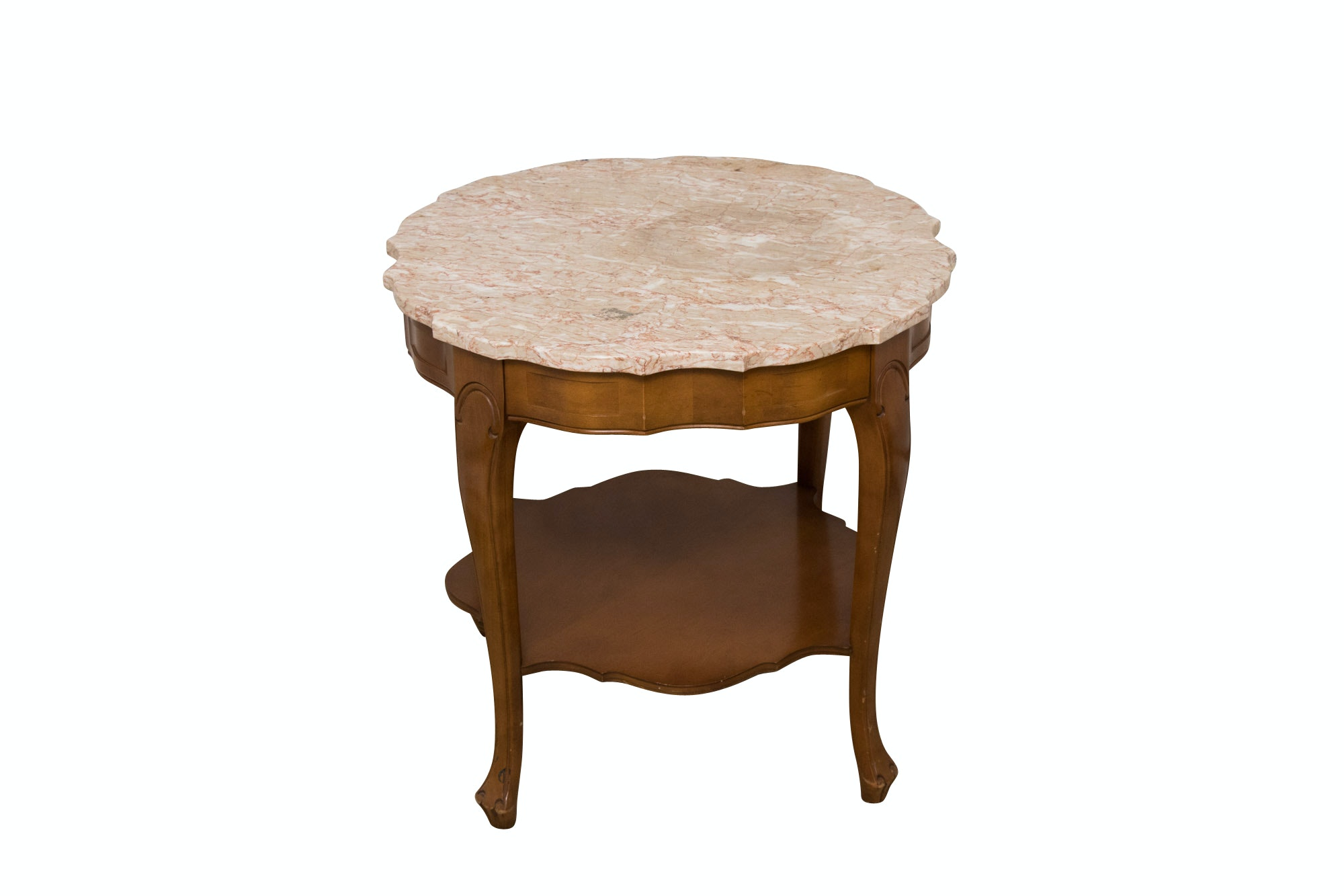 Vintage French Provincial Style Scalloped Marble Top Accent Table
