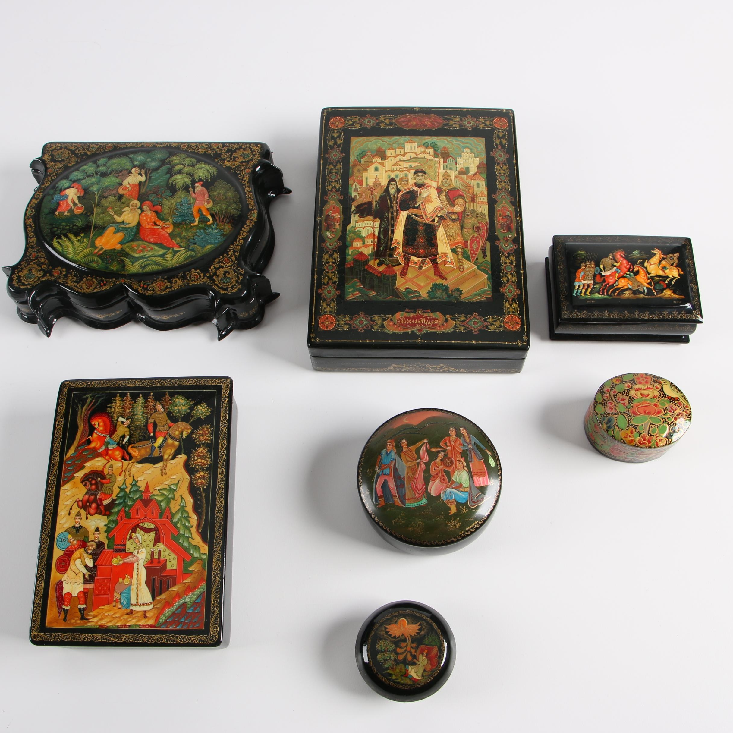 Russian Hand-Painted Black Lacquer Boxes