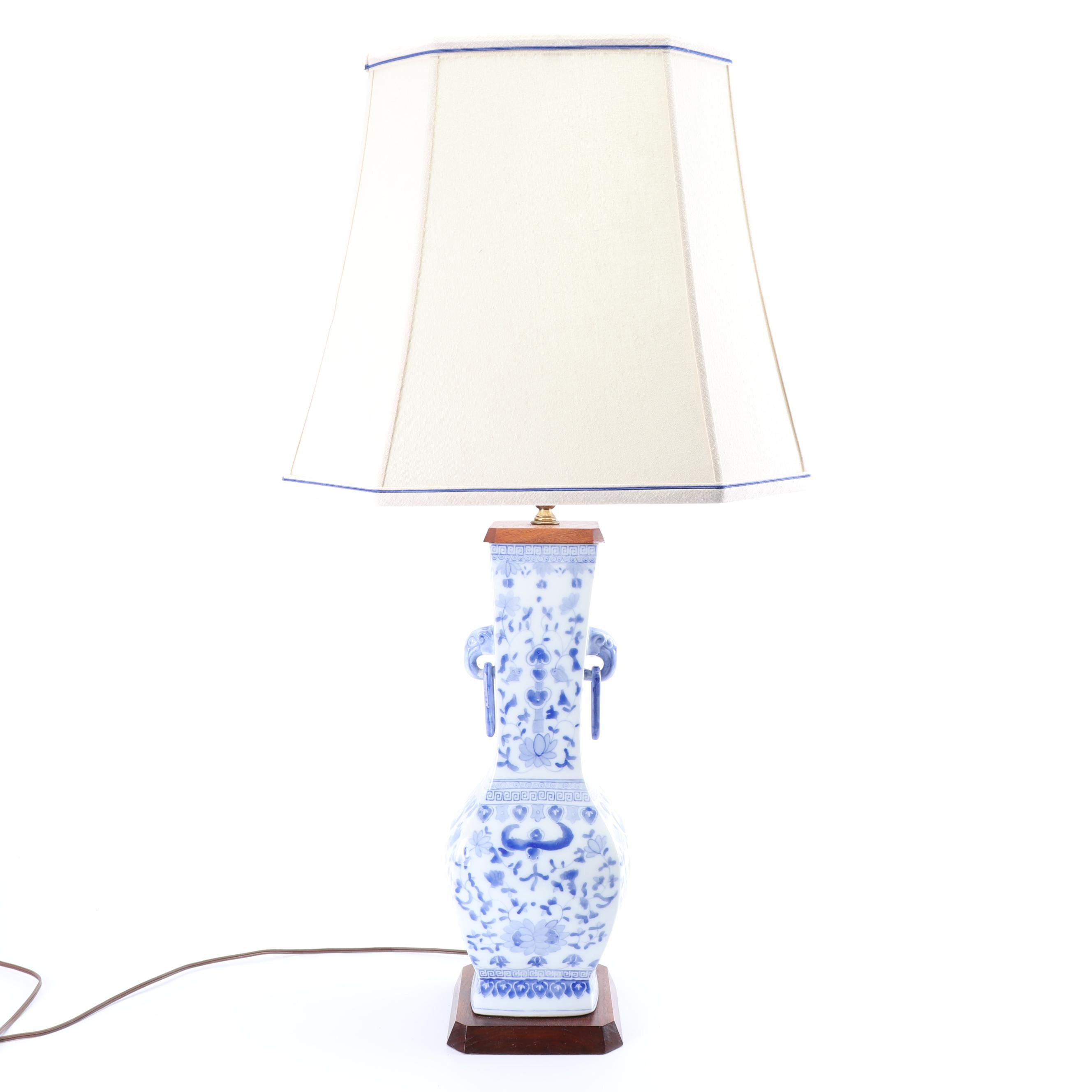 Chinese Blue Floral Porcelain Table Lamp with Fabric Shade