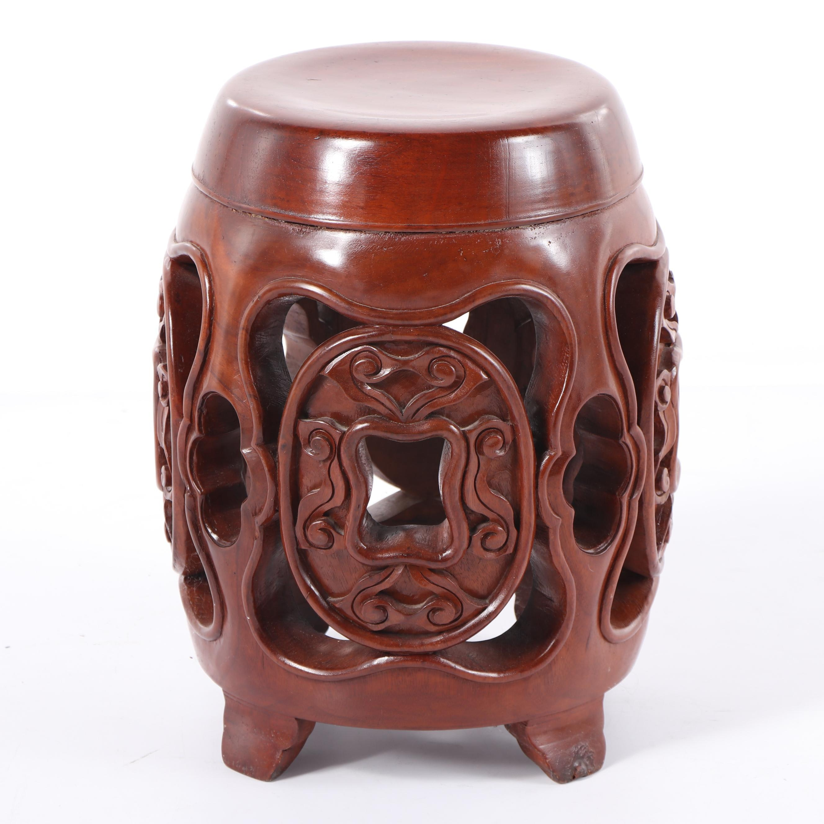 Chinese Carved Wood Garden Stool