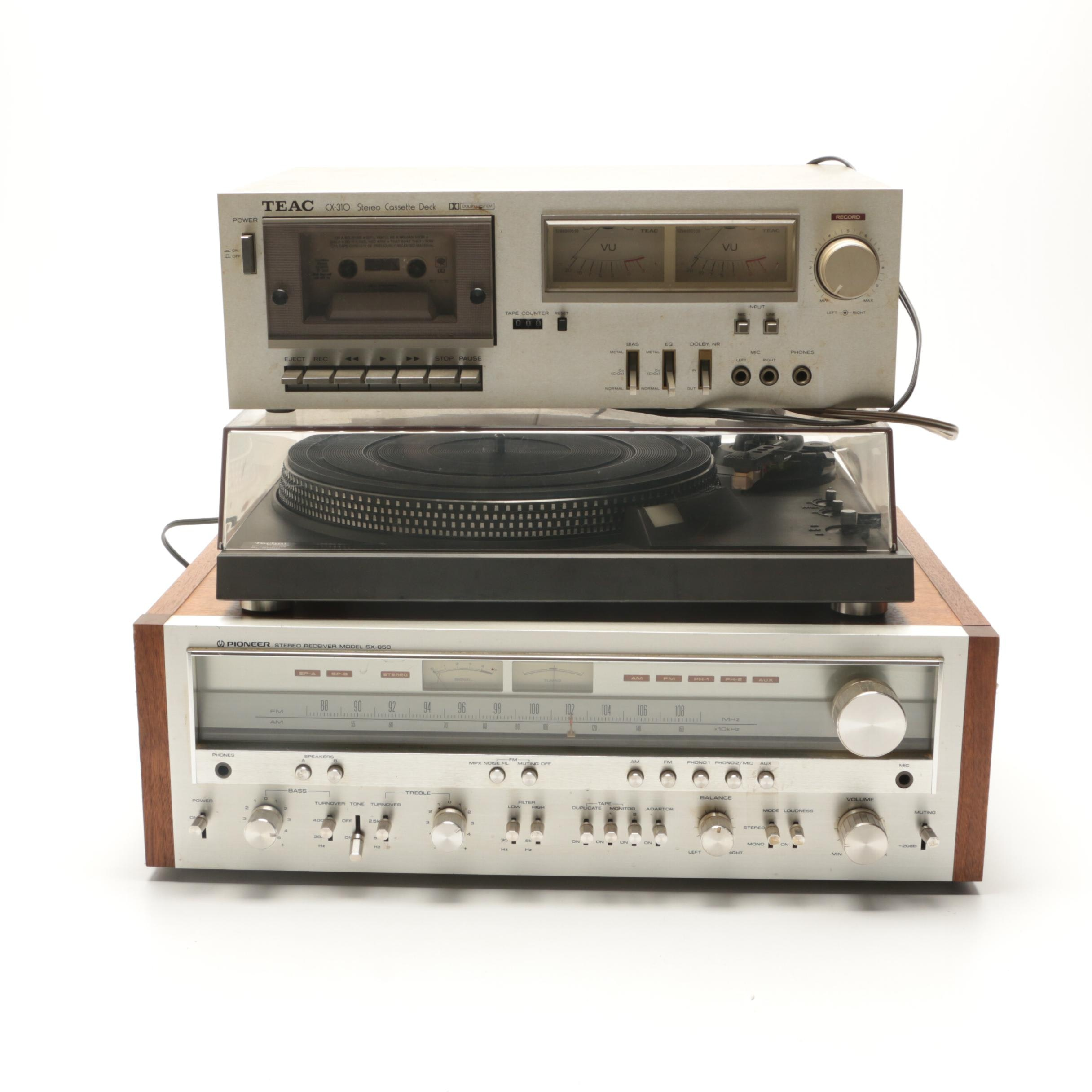 Pioneer Recever with Panasonic Turntable and TEAC Sterio Cassette Deck
