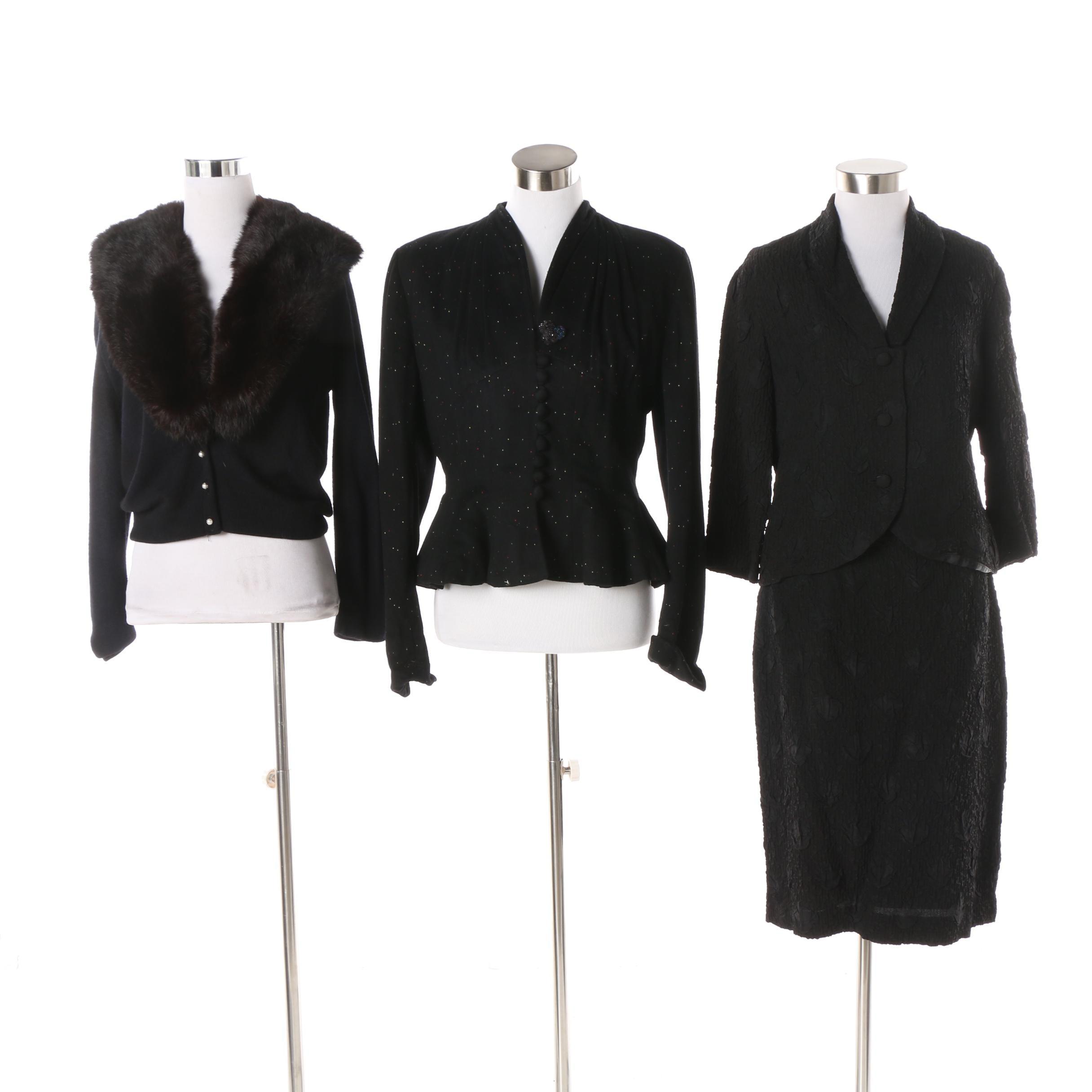 Vintage Rabbit Fur Collar Sweater, Lilli Ann Jacket and Unlabeled Skirt Suit