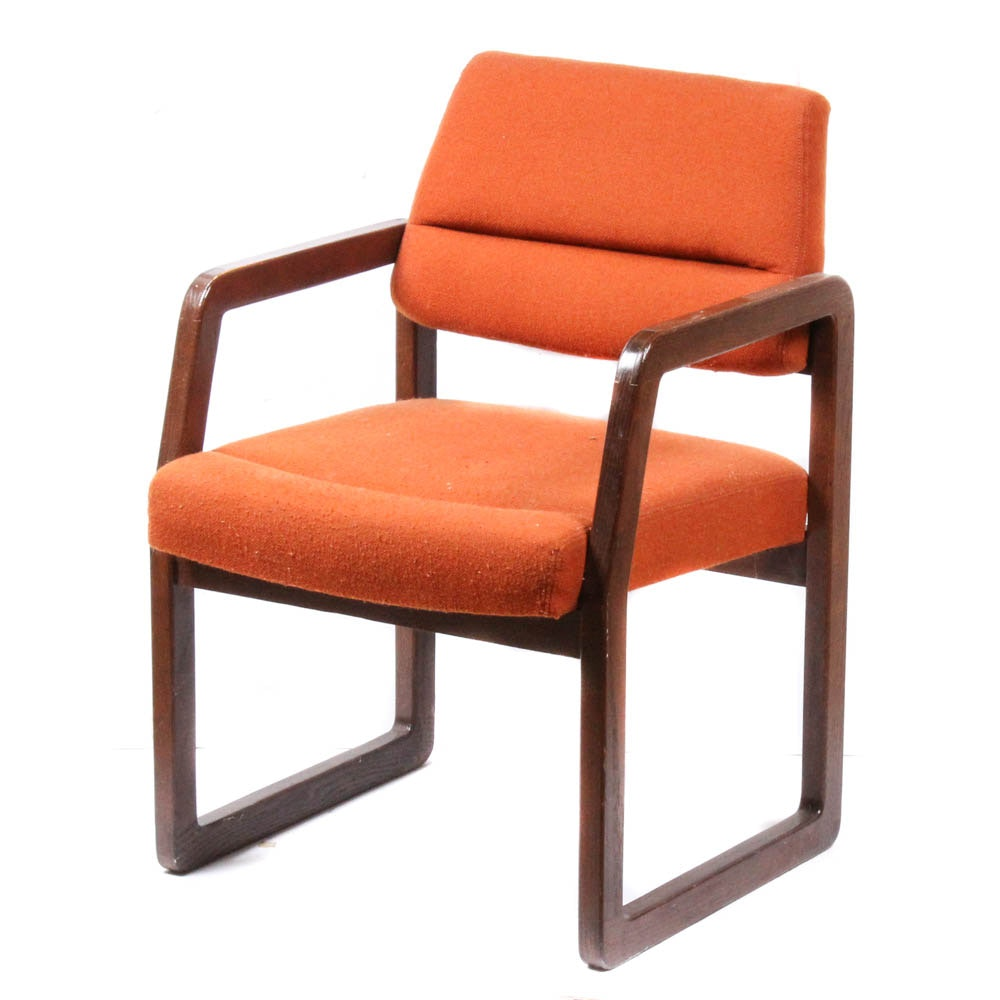 Mid Century Kimball Wood Frame Upholstered Office Armchair