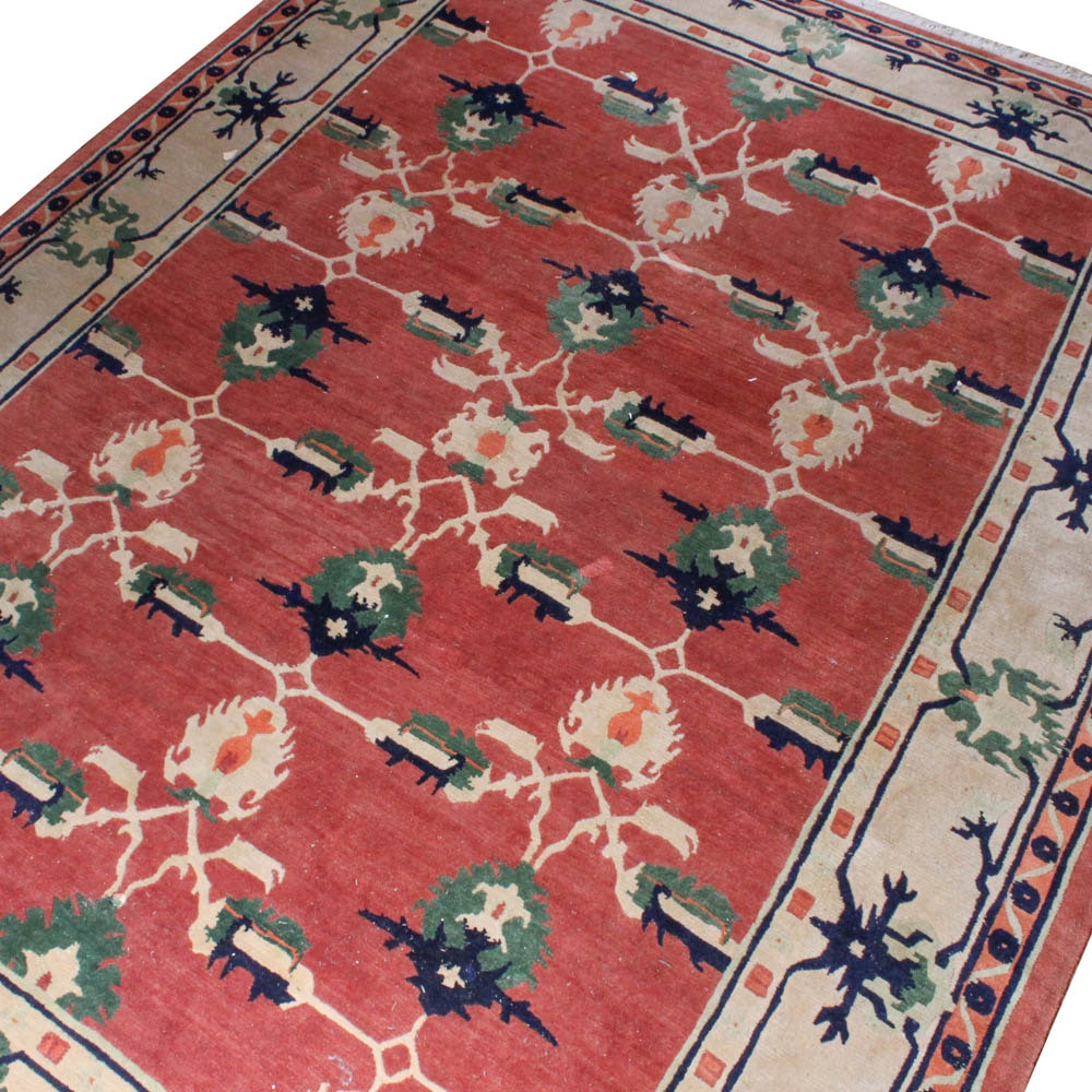 Vintage Hand-Knotted Sino-Persian Rug