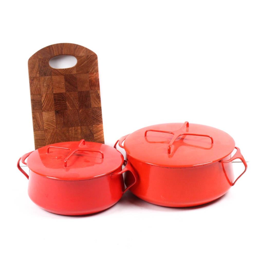 Vintage Dansk Kobenstyle Enamel Cookware and Cutting Board