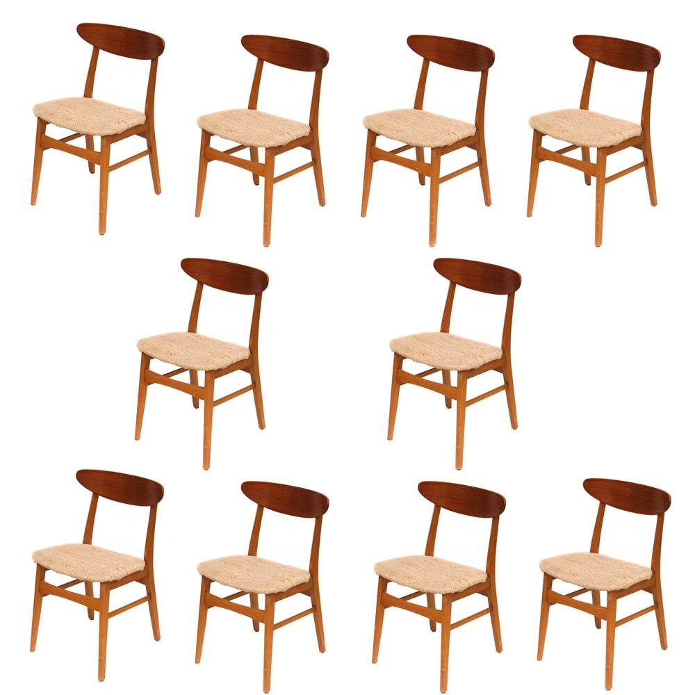 Ten Mid Century Modern Walnut Dining Chairs