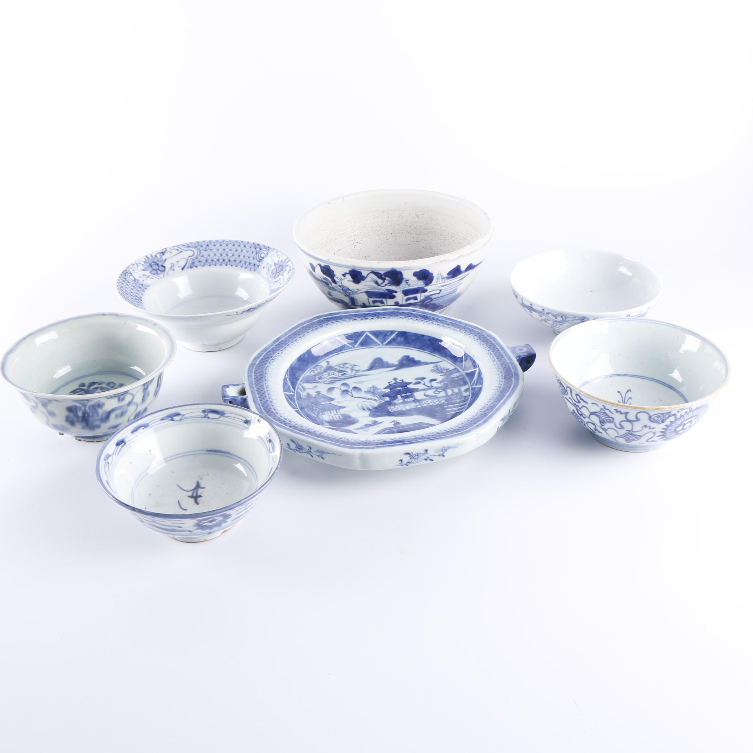 Chinese Blue and White Porcelain Bowls and Warming Dish