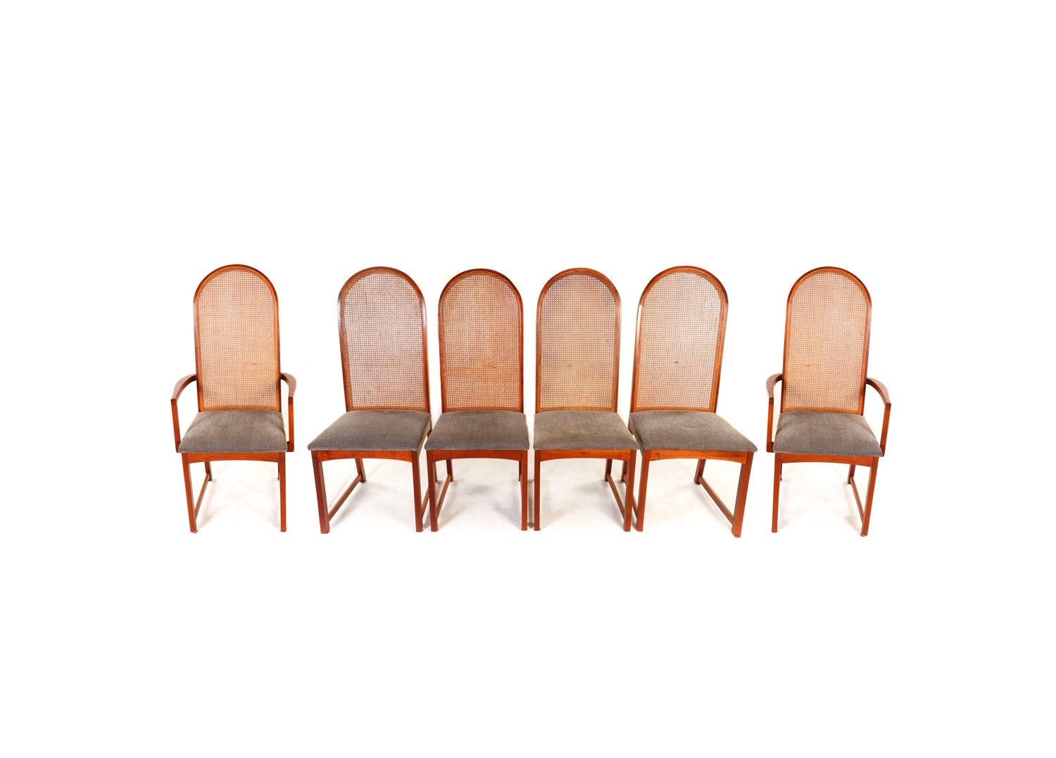 Milo Baughman for Dillingham Arched Cane Back Dining Chairs