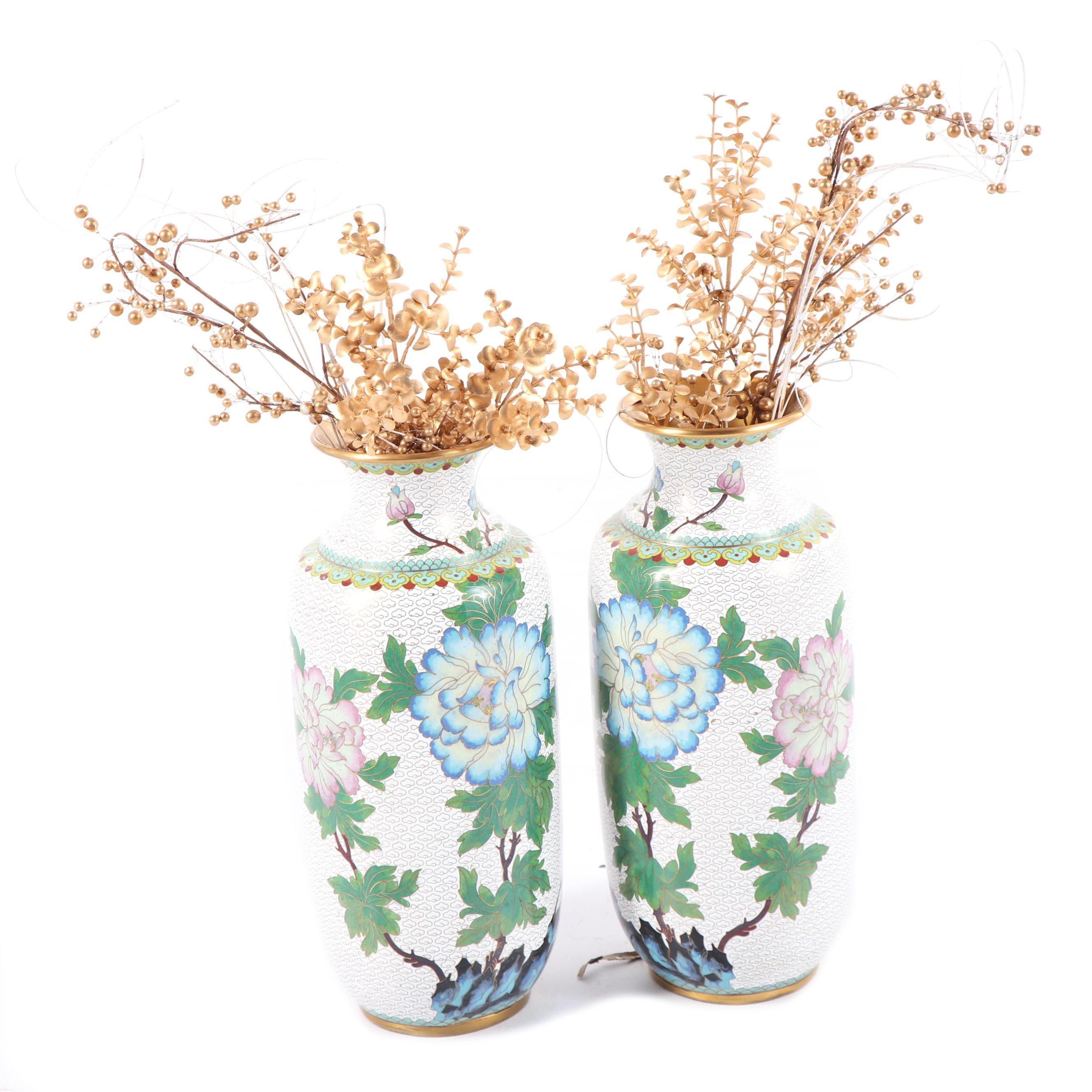 Chinese Cloisonné Peony Motif Vases with Faux Foliage