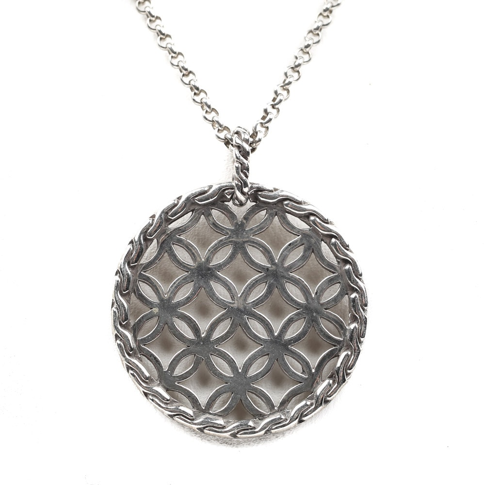 "John Hardy ""Kawung"" Sterling Silver Lattice Pendant Necklace"