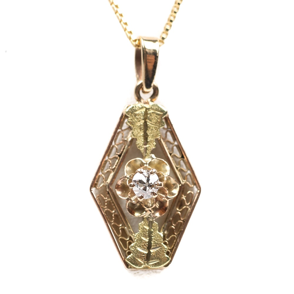 Antique 14K Yellow and Rose Gold Diamond Foliate Pendant Necklace